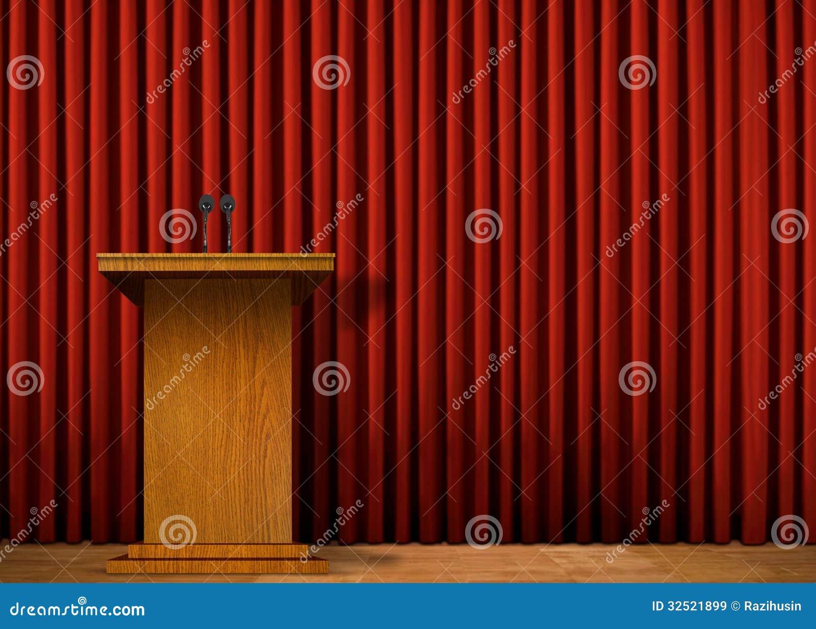 Podium na scenie nad czerwoną zasłoną