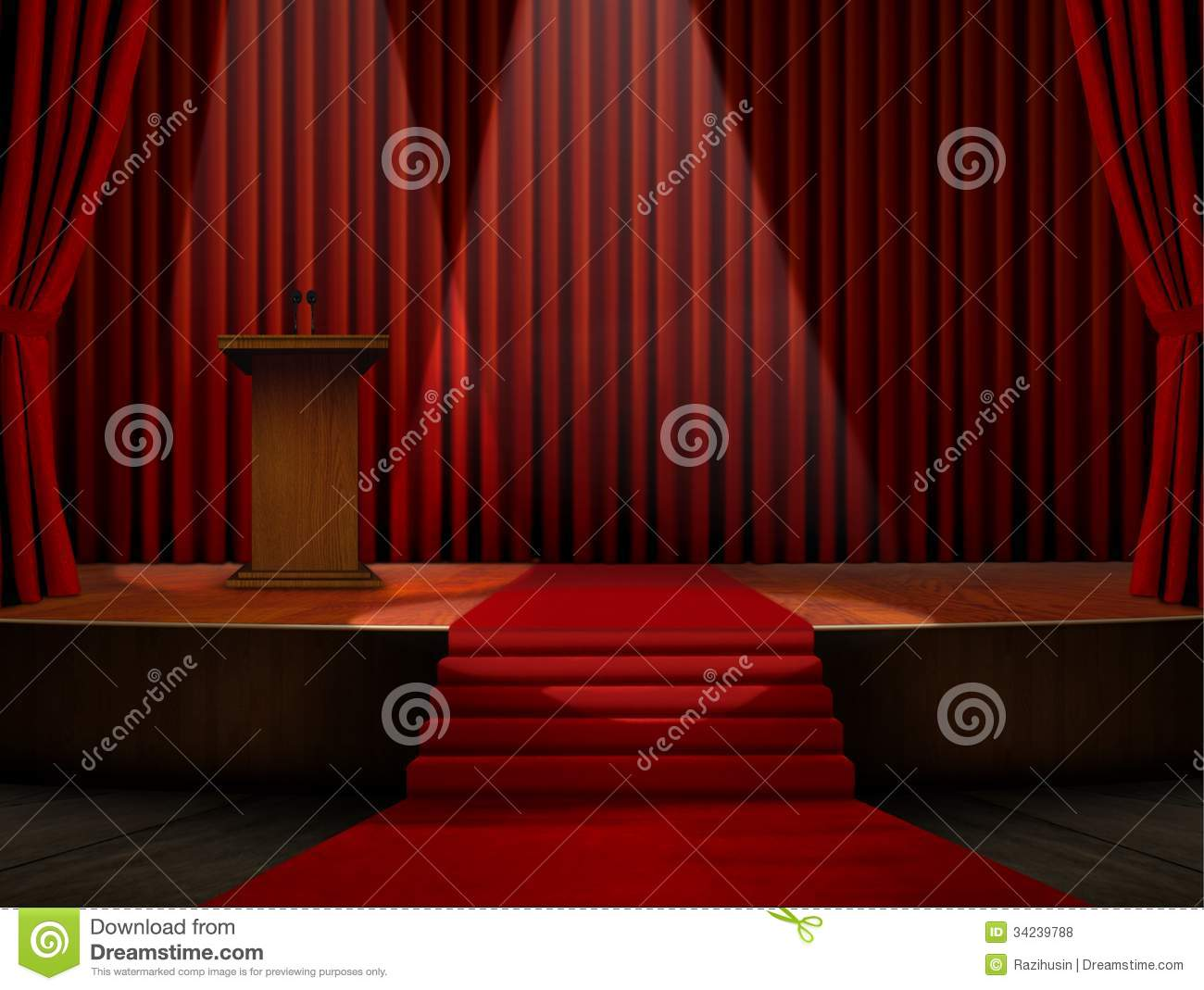 Podium And Red Carpet On Stage Royalty Free Stock Photos