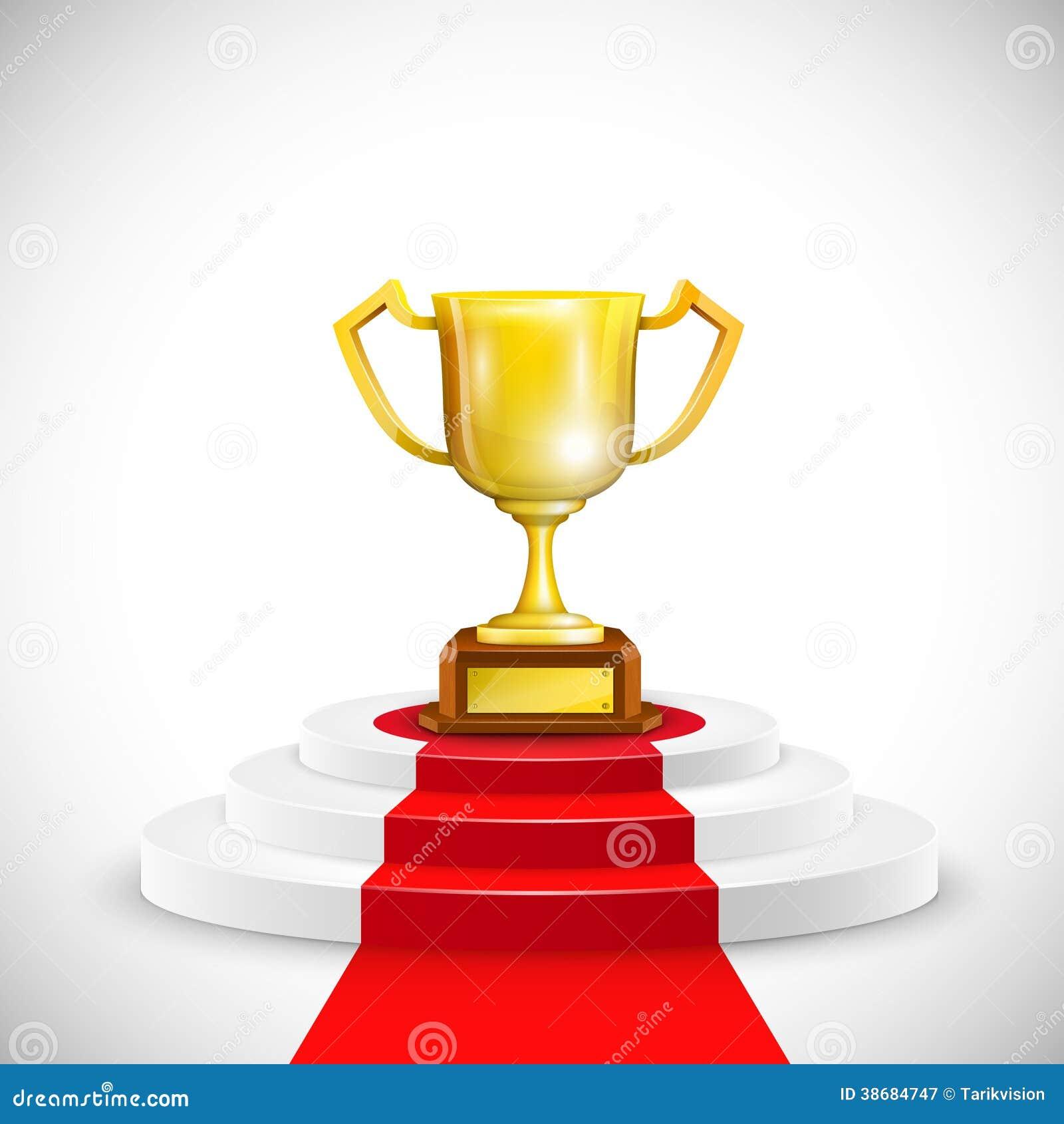 Podium Red Carpet Trophy Cup Vector Illustration on Z Metal For Carpet