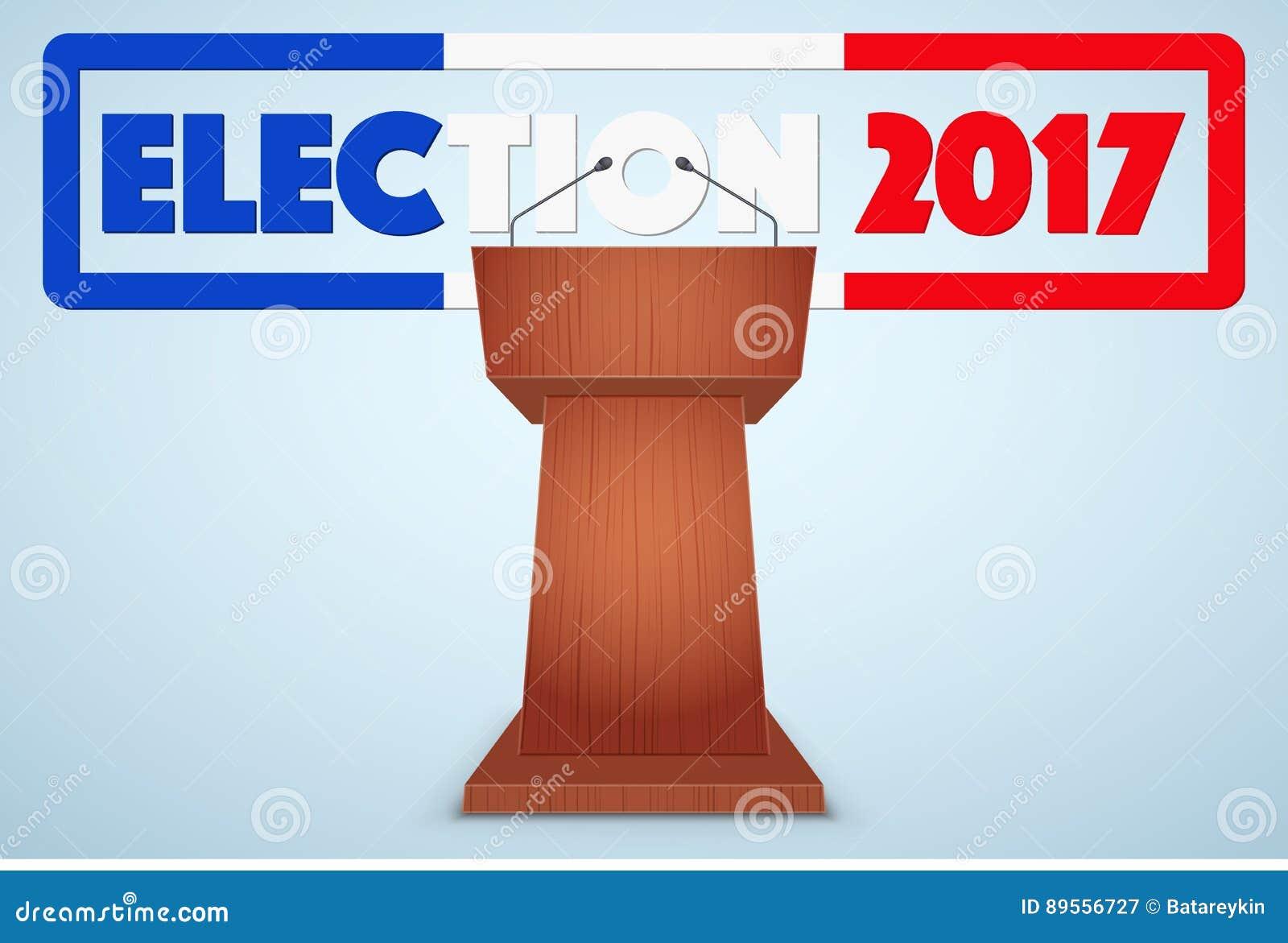 Podiumtribune Met Frans Verkiezingssymbool Stock Illustratie