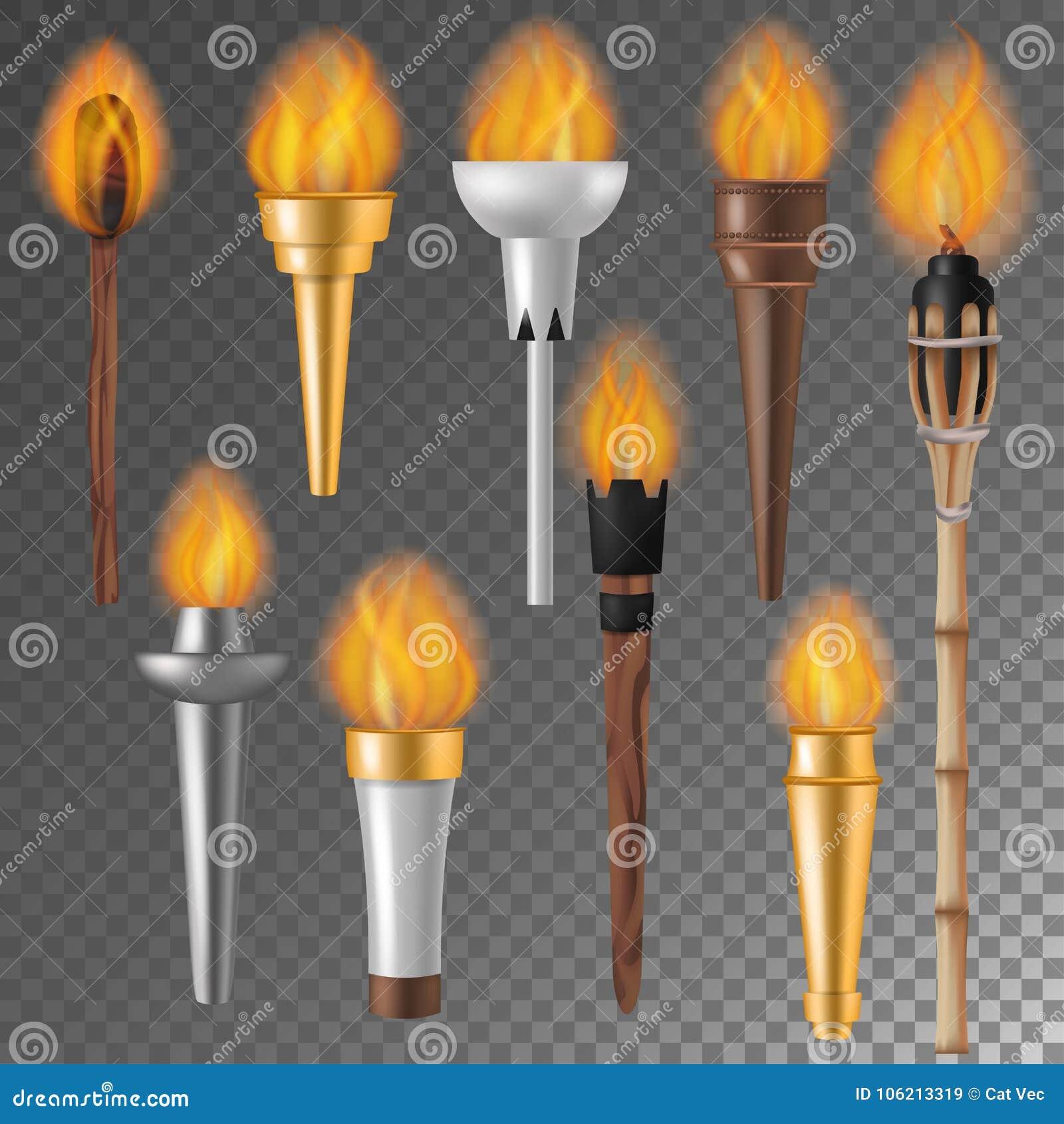 Podkłada ogień płomienia wektorowego płomiennego torchlight lub oświetleniowego flambeau symbol osiągnięcie podkłada ogień z palą