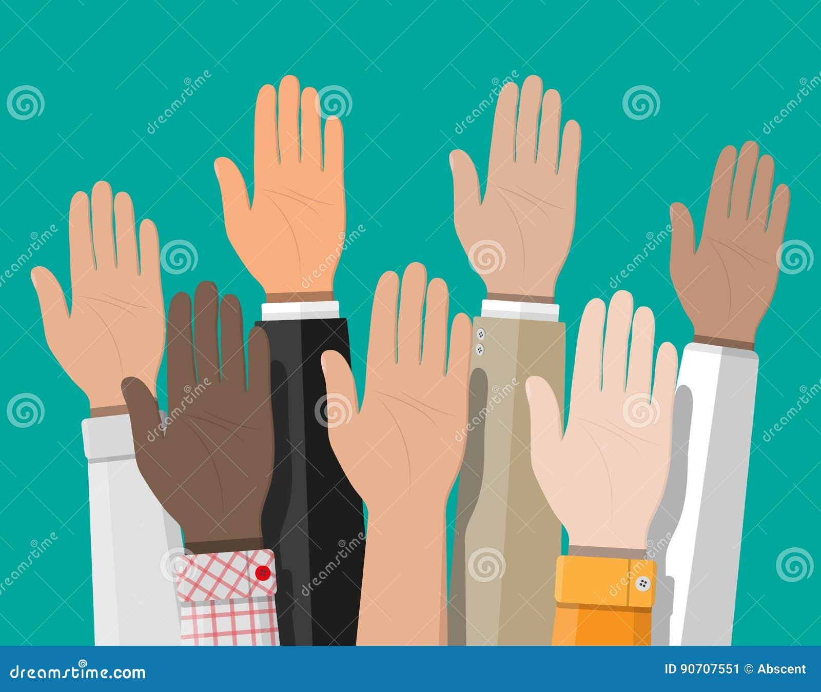 Podnosić up ręki Ludzie głosowanie ręk