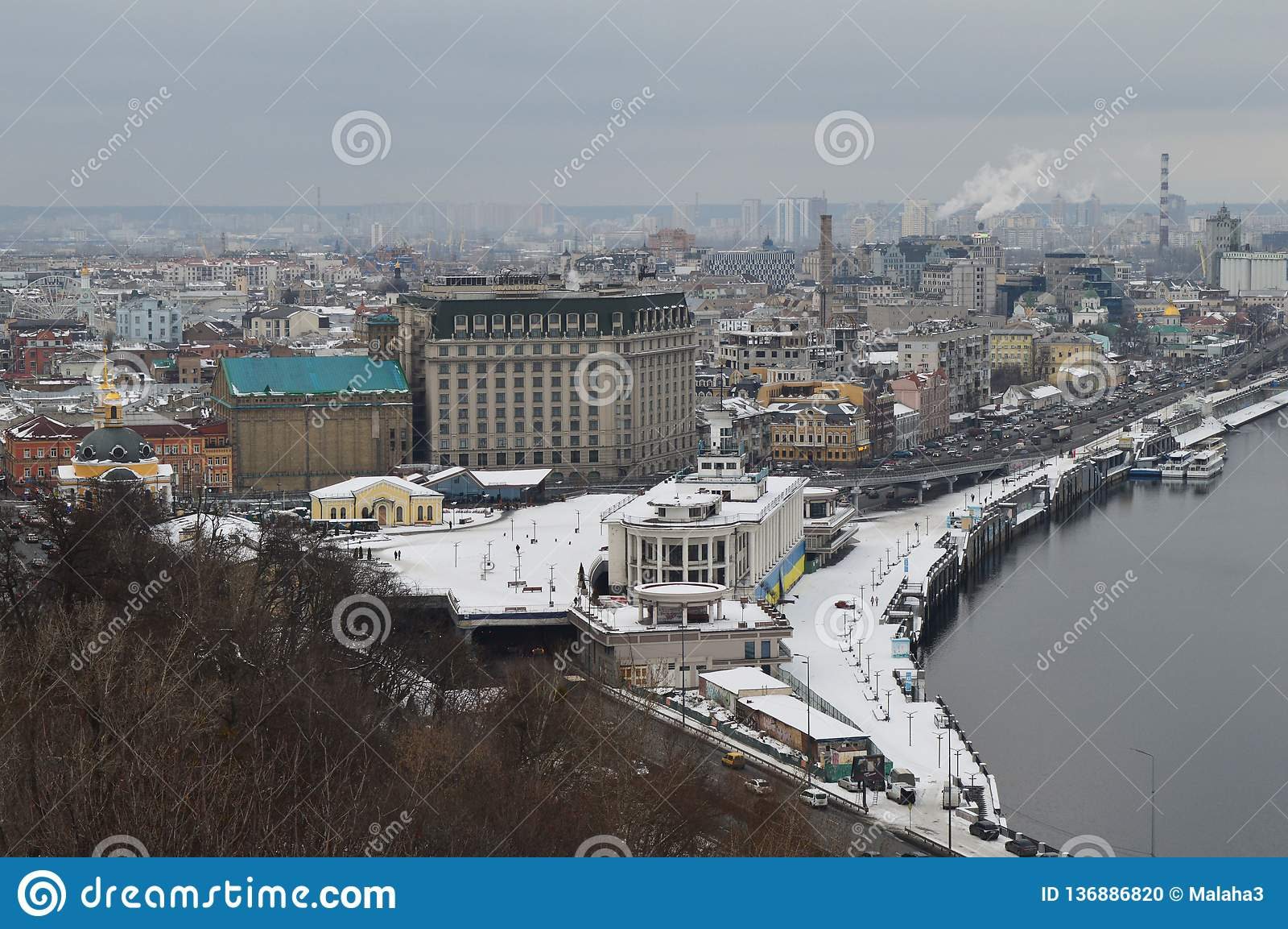 The Podol of Kiev in the winter from a height