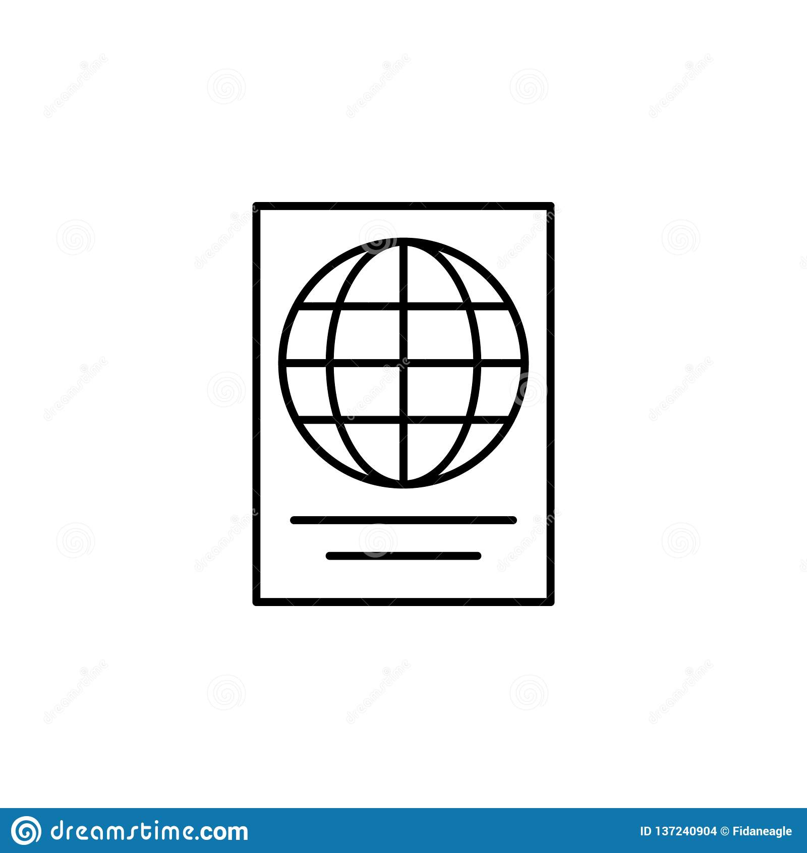 Podróż, góry, słońce konturu ikona Element podróży ilustracja Znaki i symbol ikona mogą używać dla sieci, logo, mobilny app