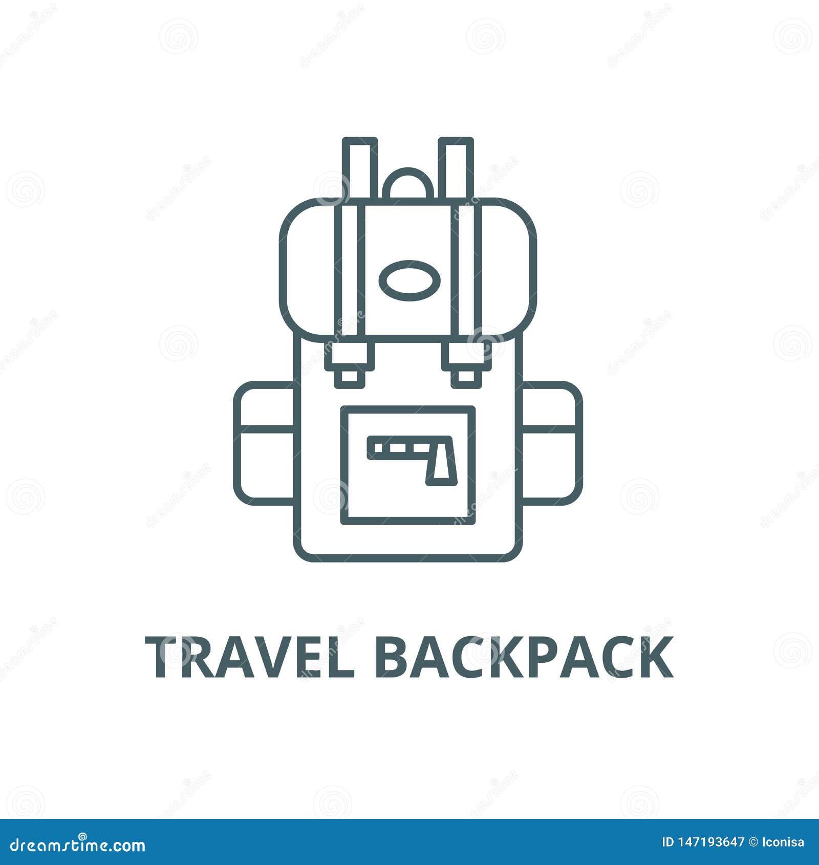 Podróż plecaka wektoru linii ikona, liniowy pojęcie, konturu znak, symbol