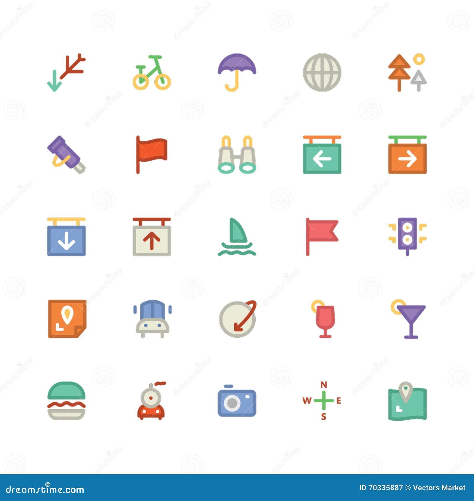 Podróży Barwione Wektorowe ikony 4