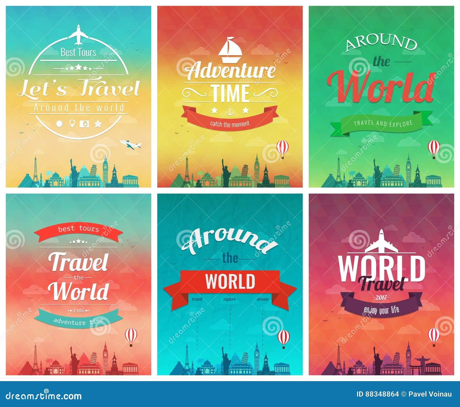Podróży broszurka z światowymi punktami zwrotnymi Szablon magazyn, plakat, książkowa pokrywa, sztandar, ulotka wektor