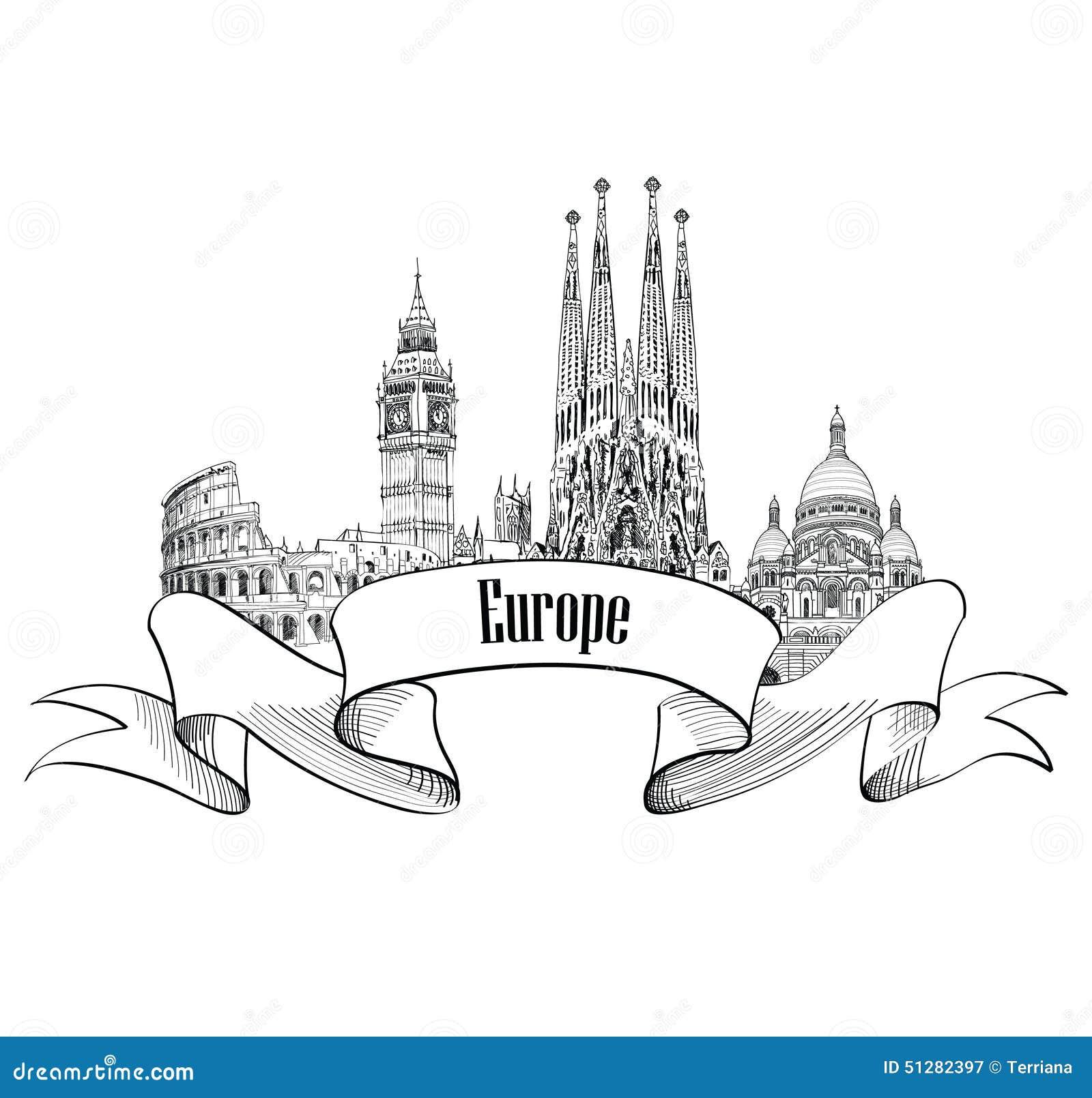 Podróży Europa etykietka Sławni budynki i punkty zwrotni Eouropean c
