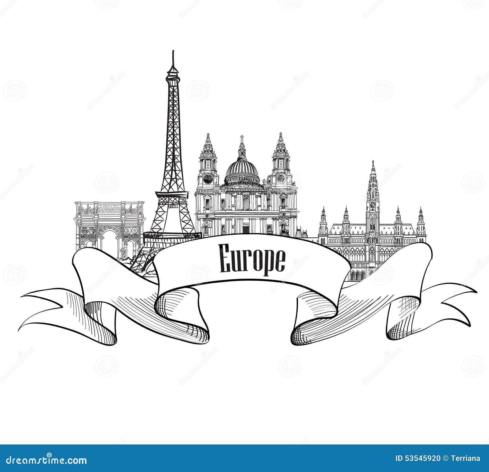 Podróży Europa etykietka Sławni budynki i punkty zwrotni Europejczyk ca