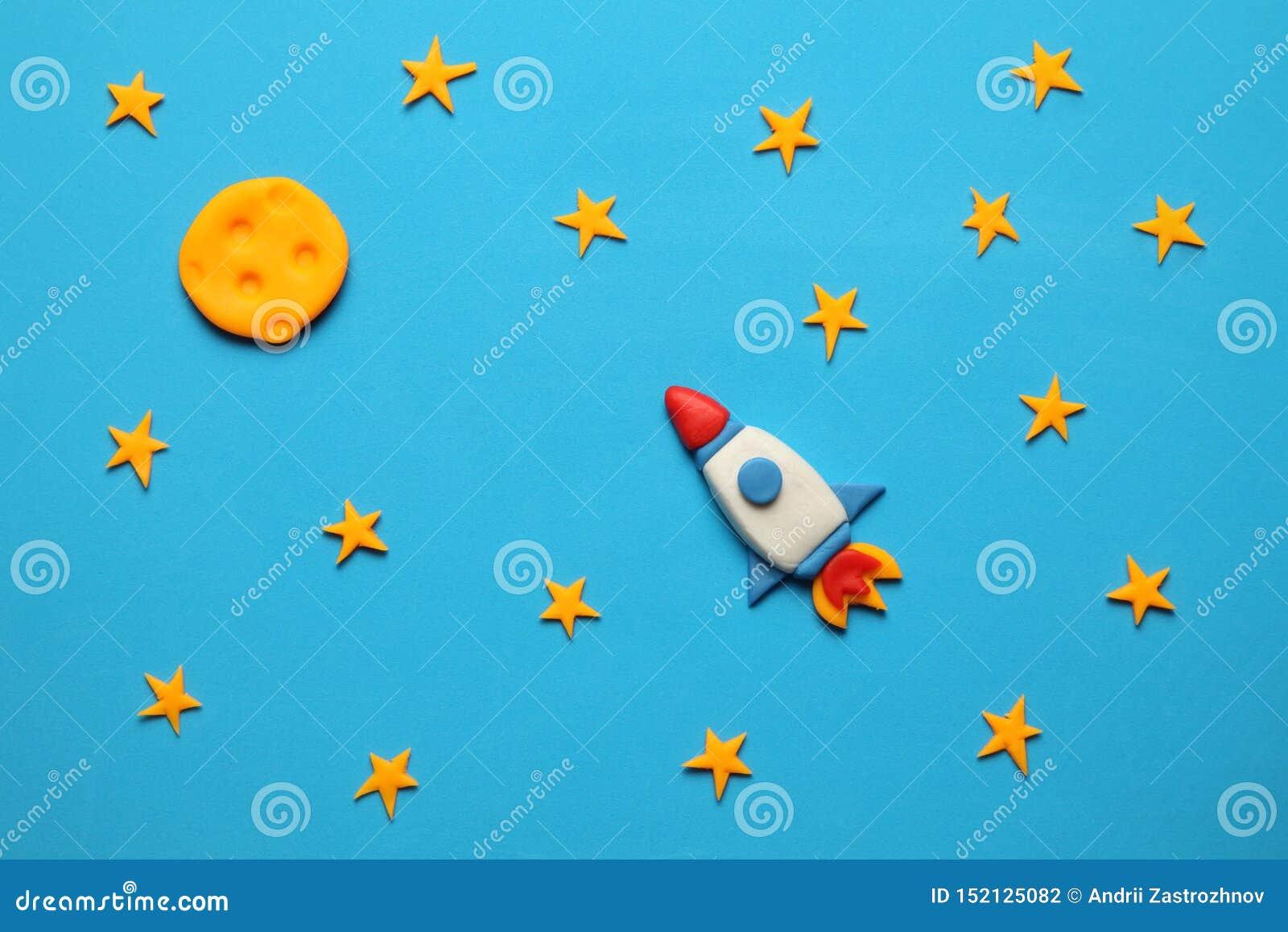 Podskakuje w przestrzeni, gwiazdzie i księżyc, Plasteliny sztuka, kresk?wka