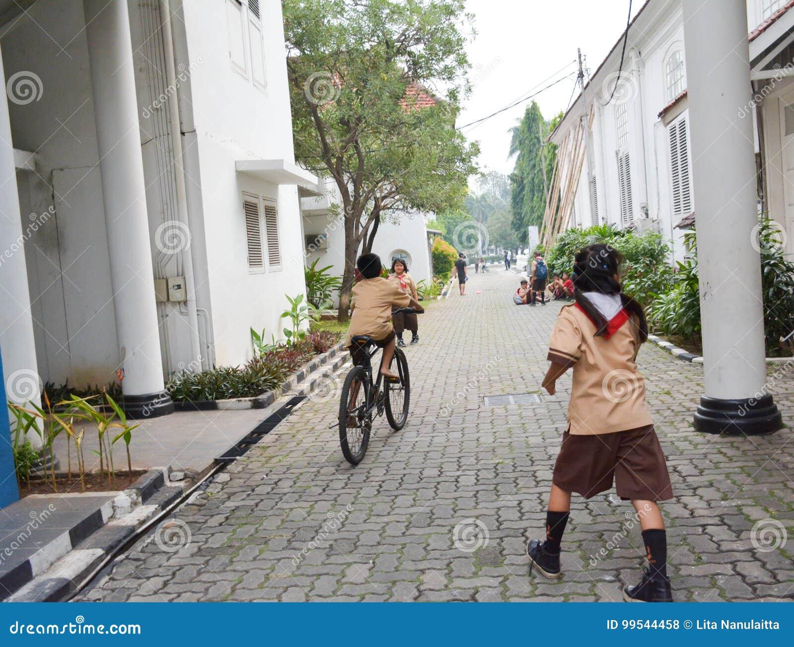 Podstawowe chłopiec i dziewczyna harcerz Dżakarta