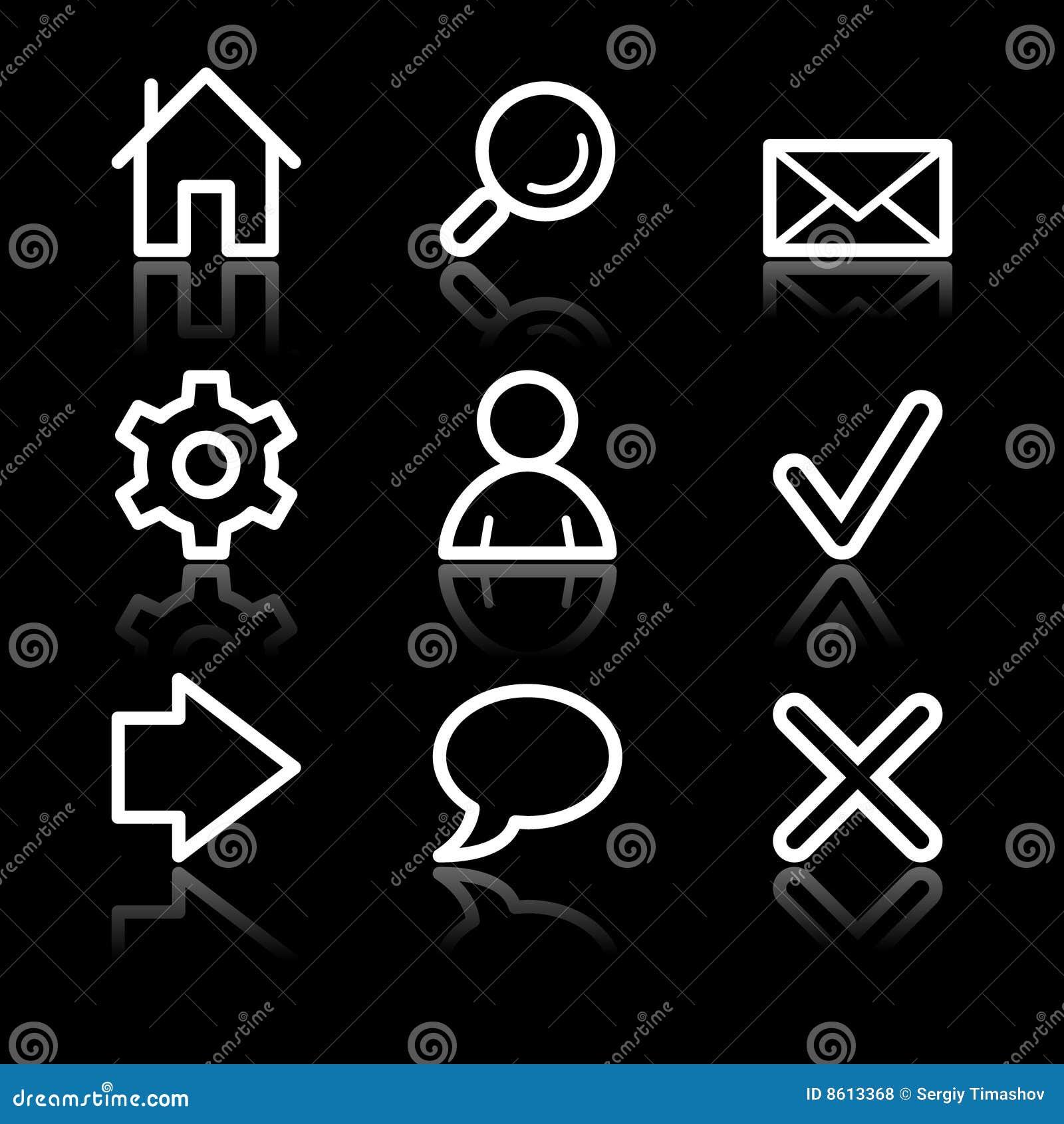 Podstawowy konturowy ikon sieci biel
