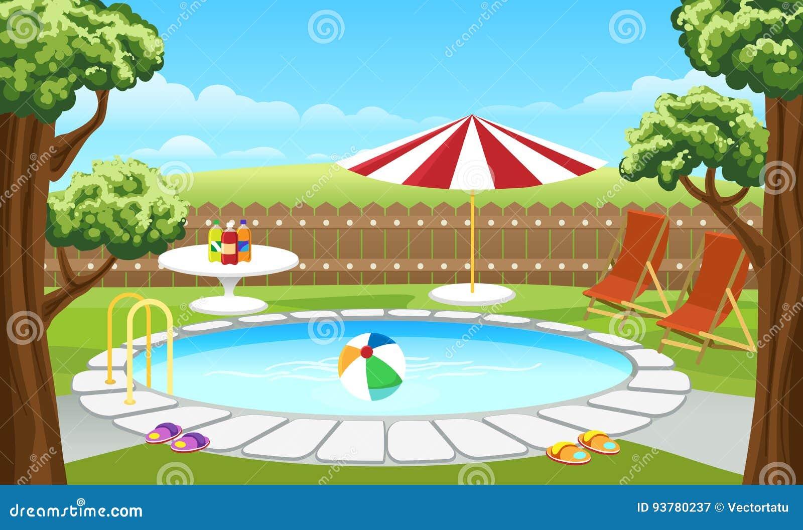 Podwórka basen z ogrodzeniem i parasol