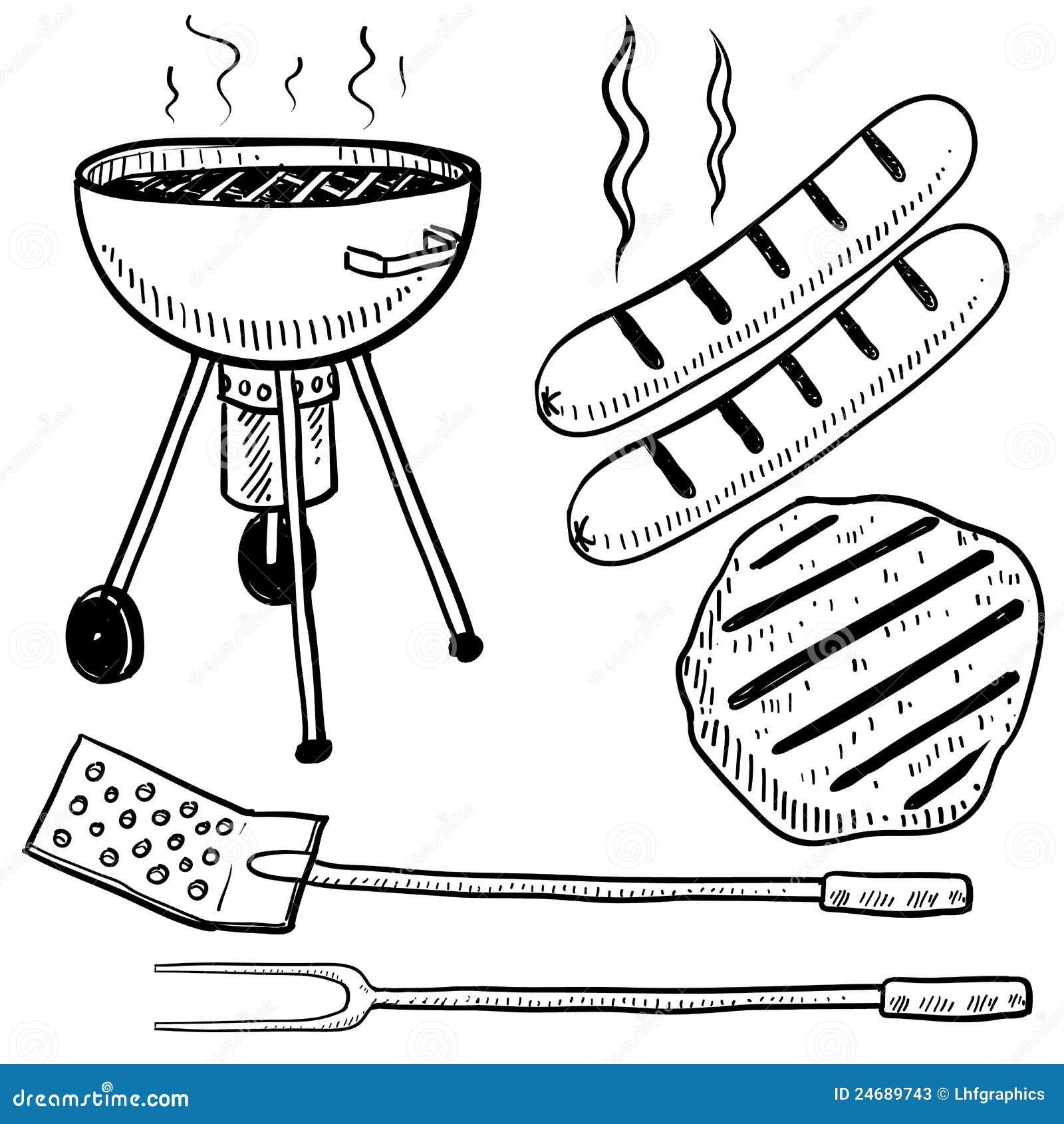 Podwórza grilla wyposażenia nakreślenie