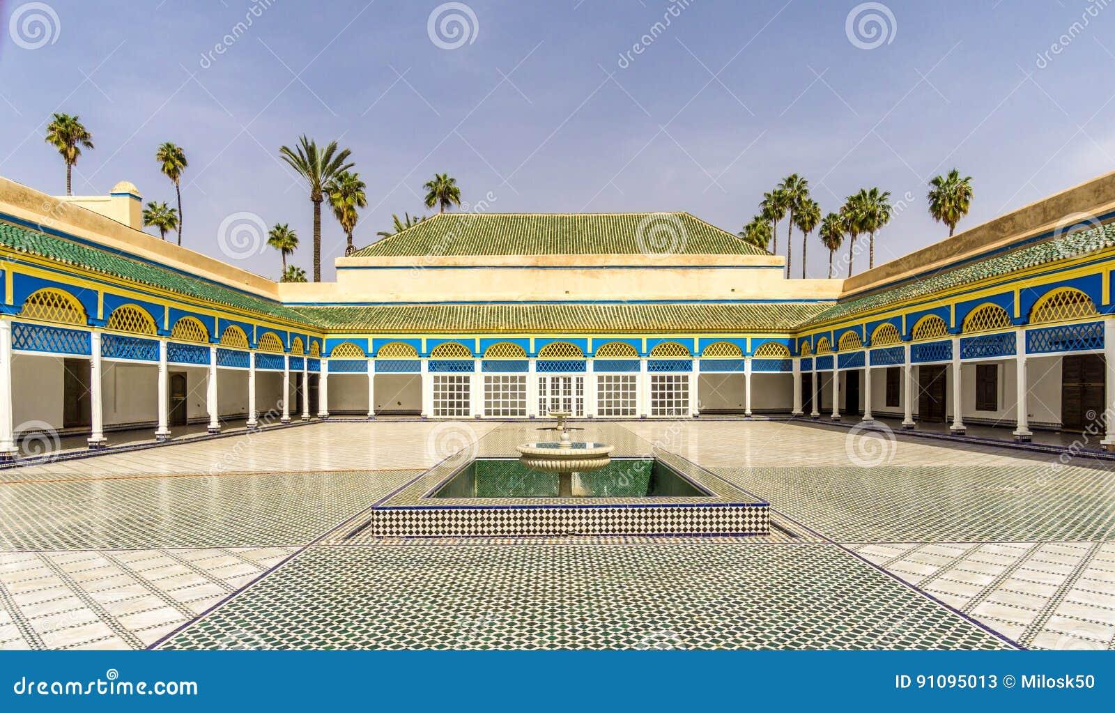 Podwórze Bahia pałac w Marrakesh, Maroko -