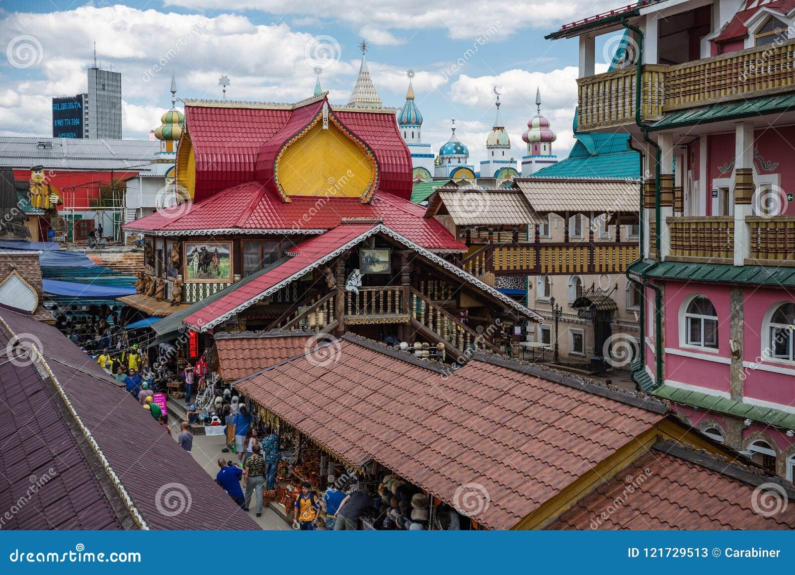 Podwórze w Izmaylovsky Kremlin w Moskwa Tradycyjny rosjanin