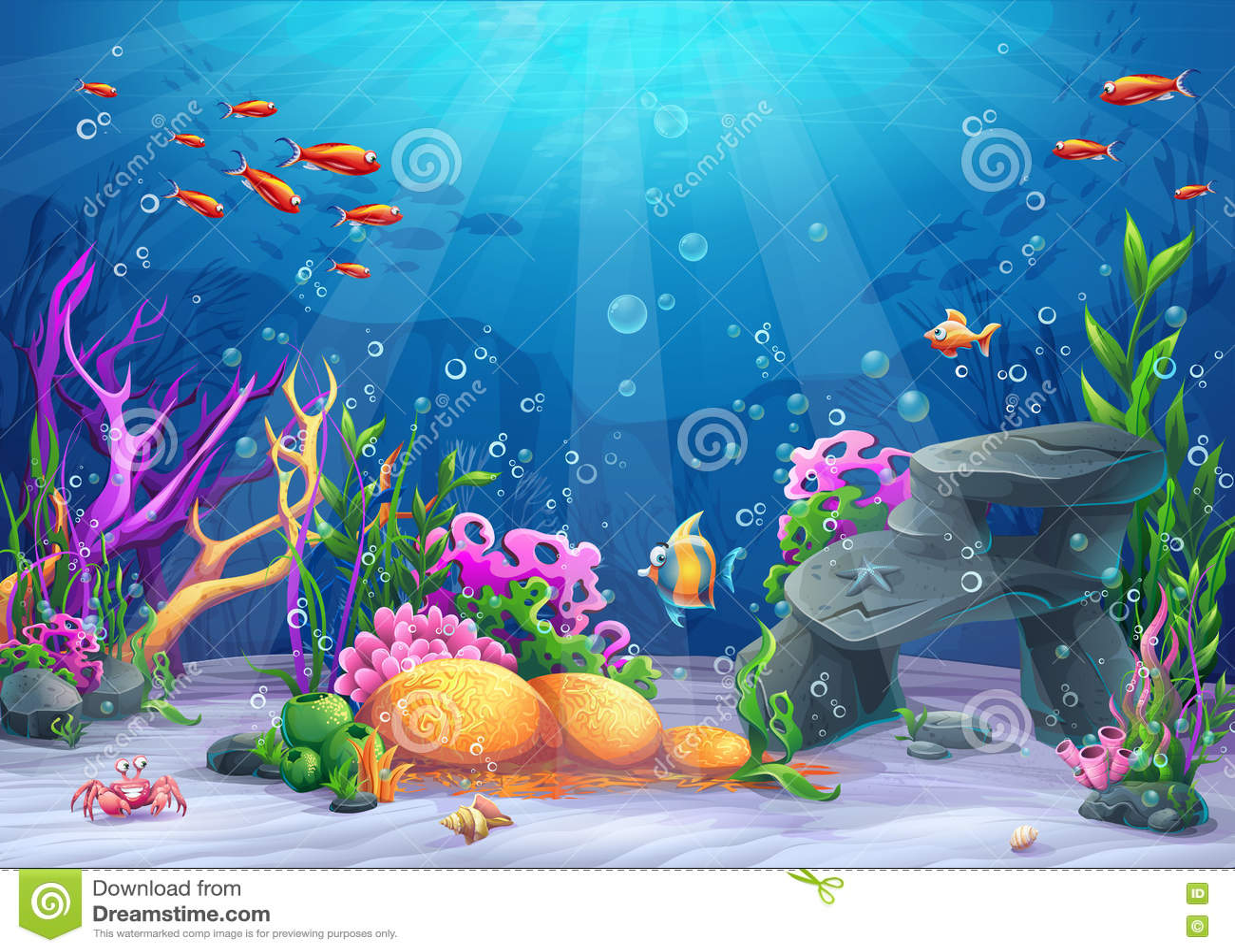 Podwodna kreskówki ilustracja