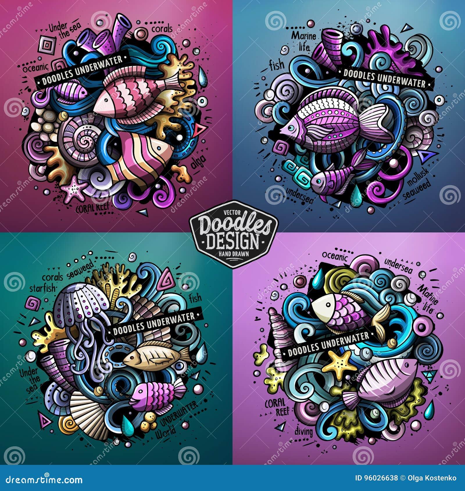 Podwodnej życie kreskówki doodle wektorowe ilustracje