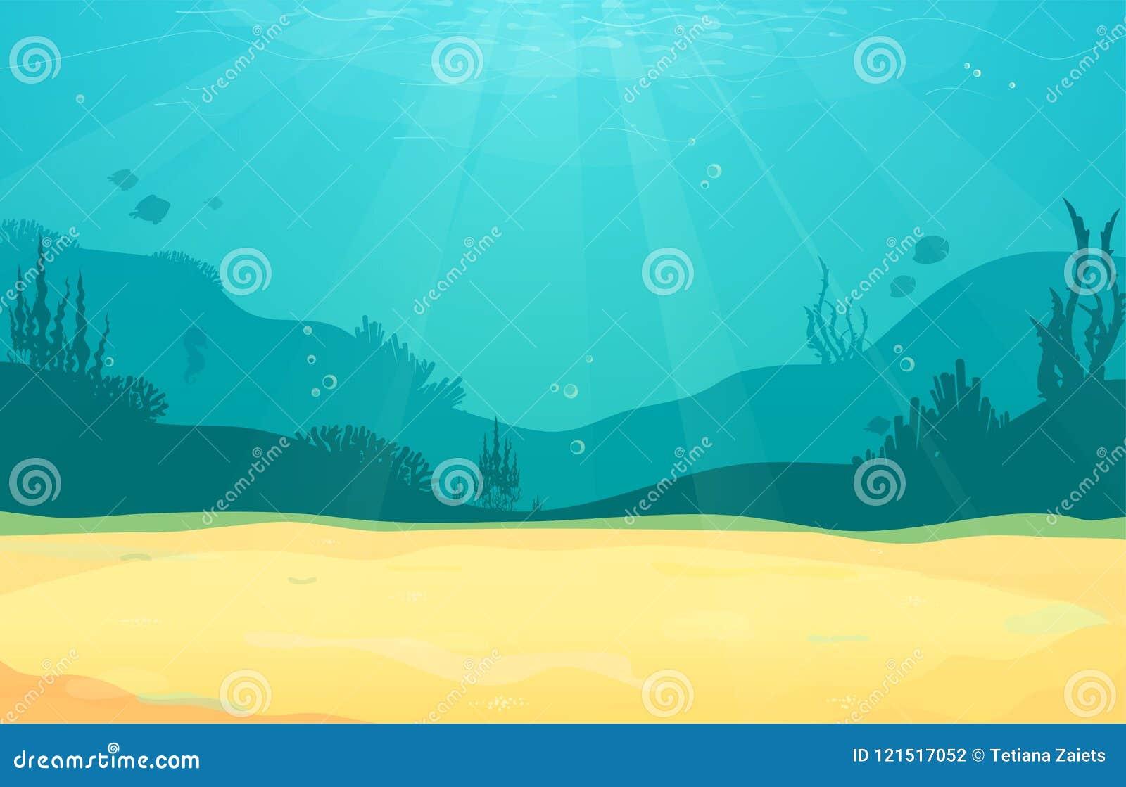 Podwodnej kreskówki płaski tło z rybią sylwetką, piasek, gałęzatka, koral Oceanu denny życie, śliczny projekt