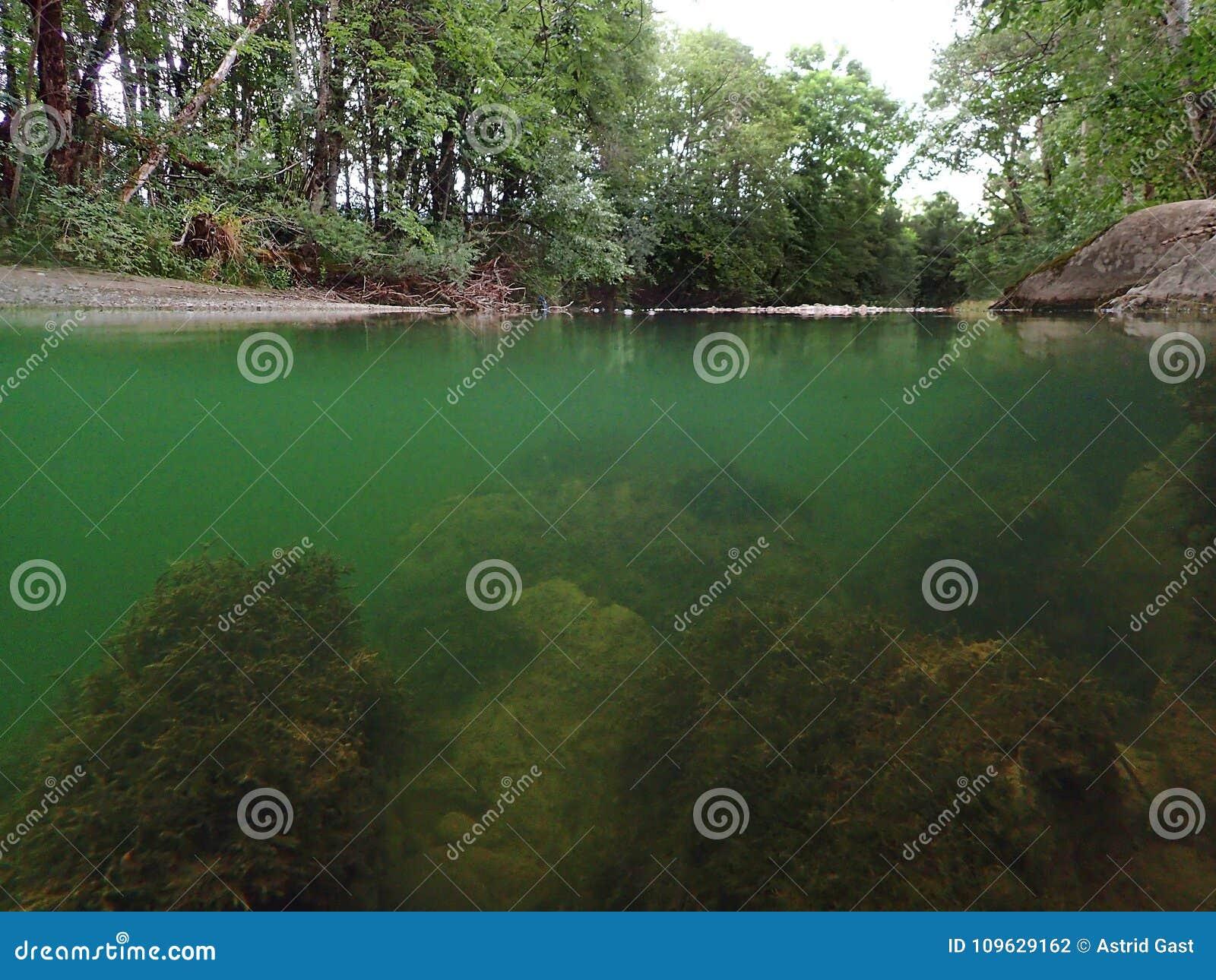 Podwodny i nawierzchniowy wodny absorbowanie od strumienia