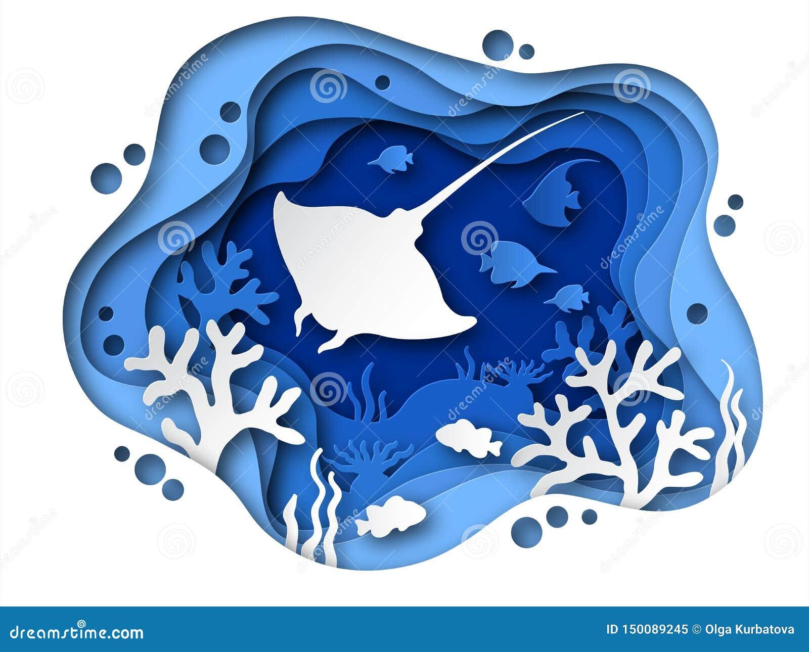 Podwodny papieru cięcie Oceanu dno z dennymi zwierzętami, koralami i ryb sylwetkami, Tropikalny papier ablegrująca dno morskie ja