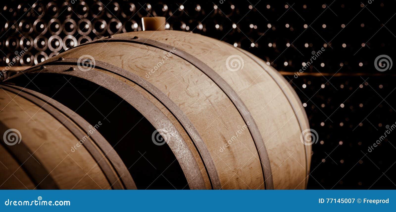 Podziemny wino loch, Drewniane baryłki, butelkuje magazyn,