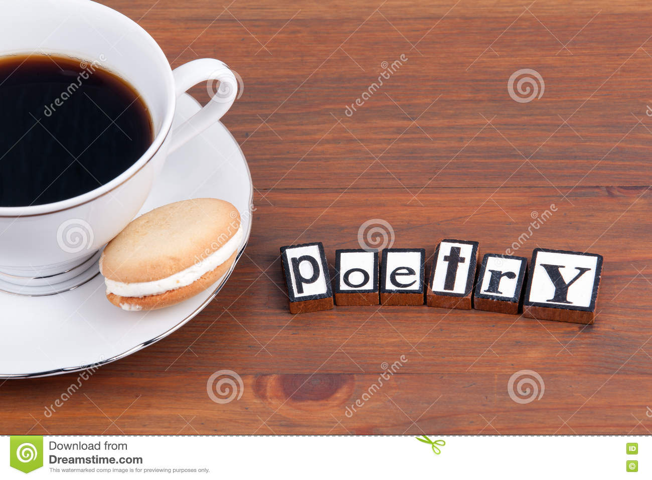 Poetry On Wooden Table Coffee Mug Cookie Stock Photo