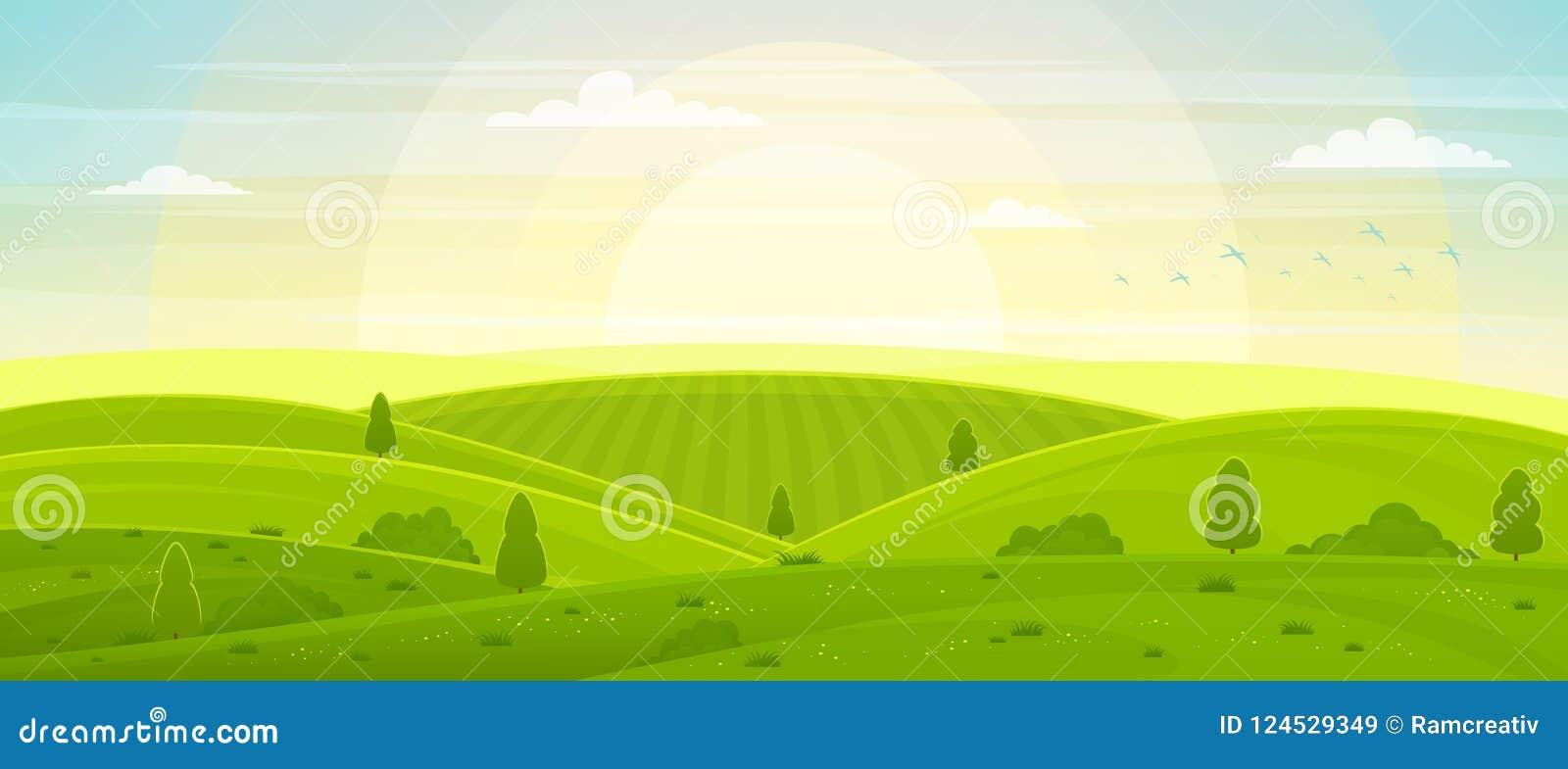 Pogodny wiejski krajobraz z wzgórzami i polami przy świtem