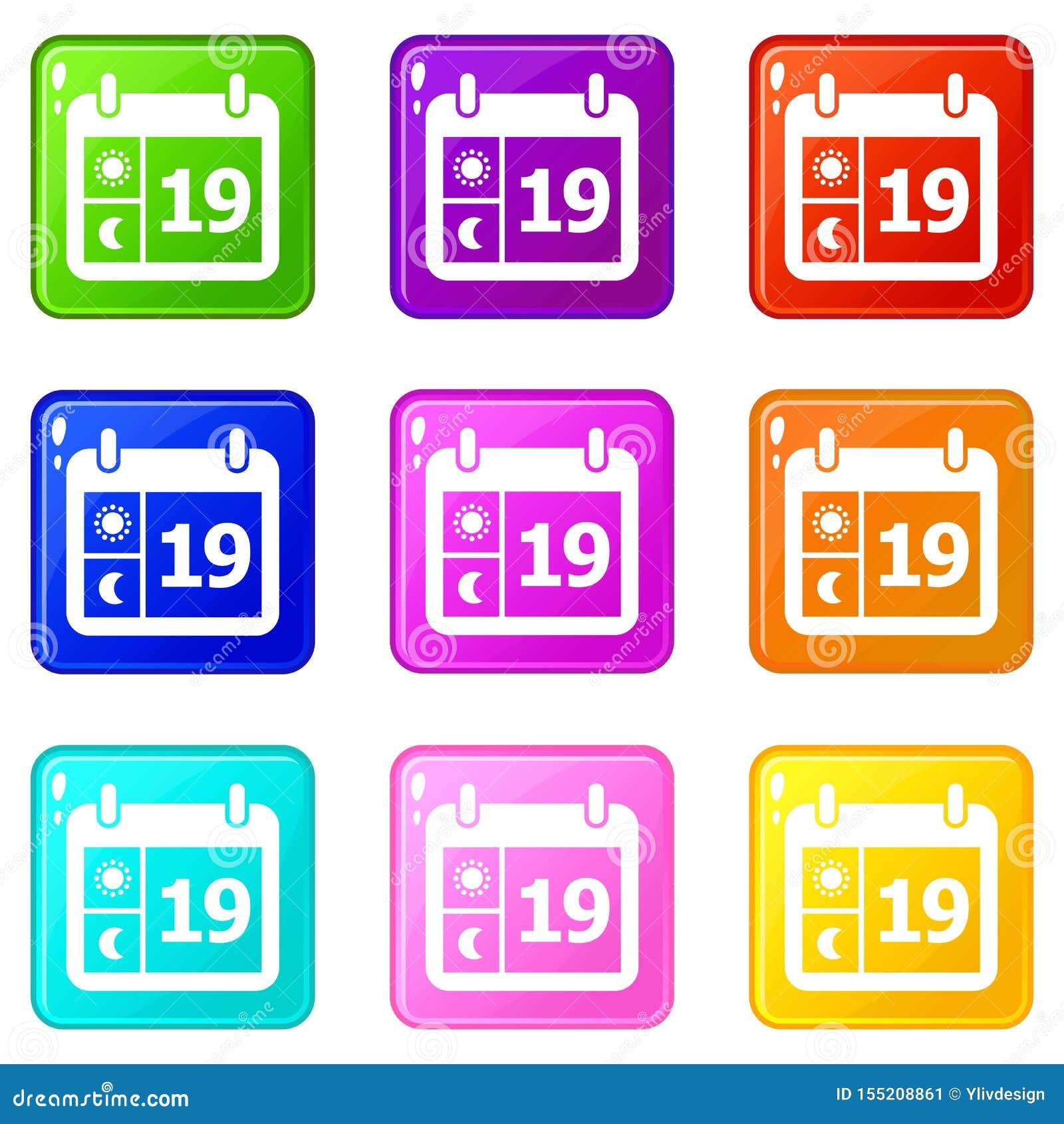 Pogodowe kalendarzowe ikony ustawiają 9 kolorów kolekcję