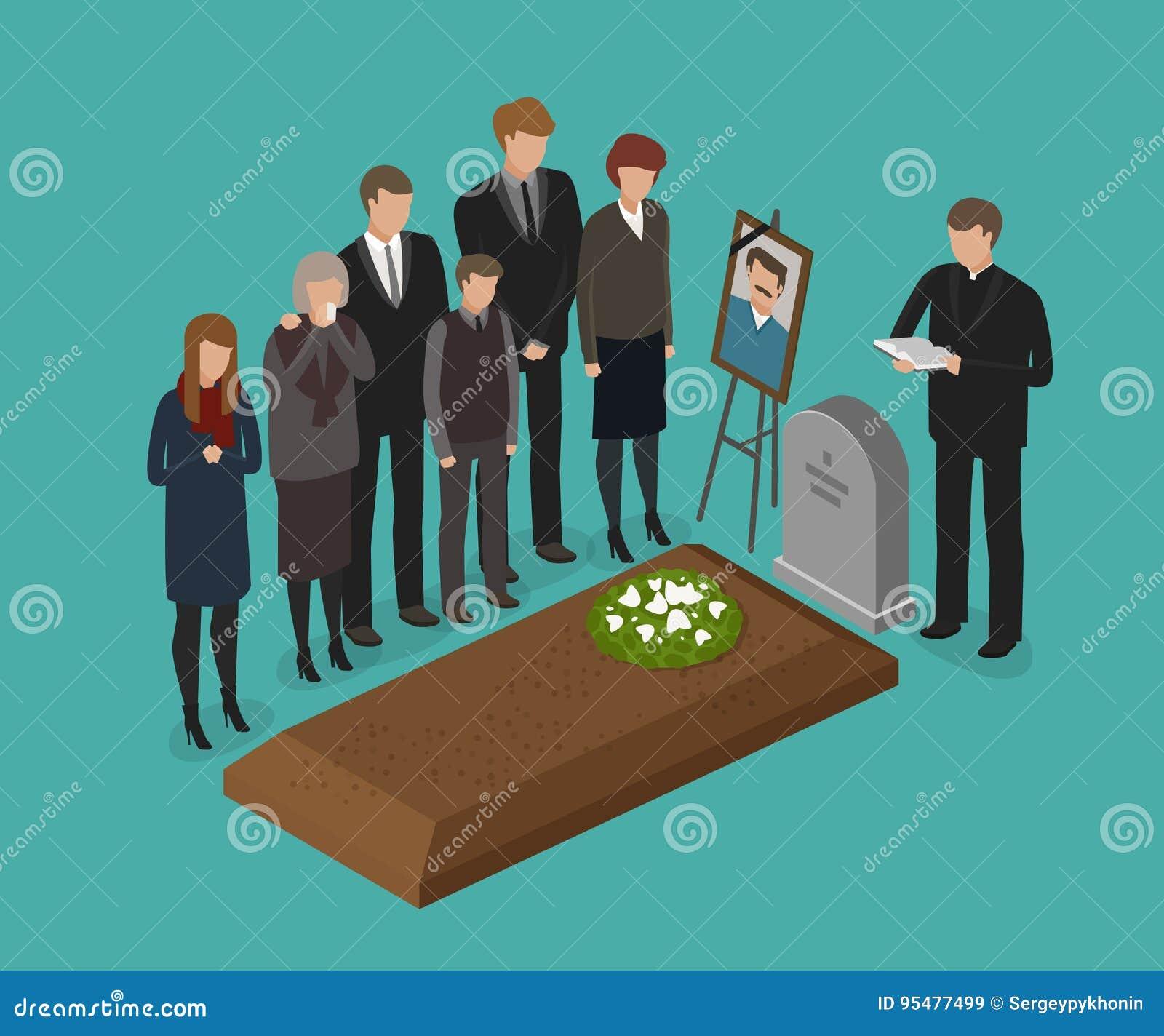 Pogrzeb, grzebalny pojęcie Cmentarz, doniosła wektorowa ilustracja