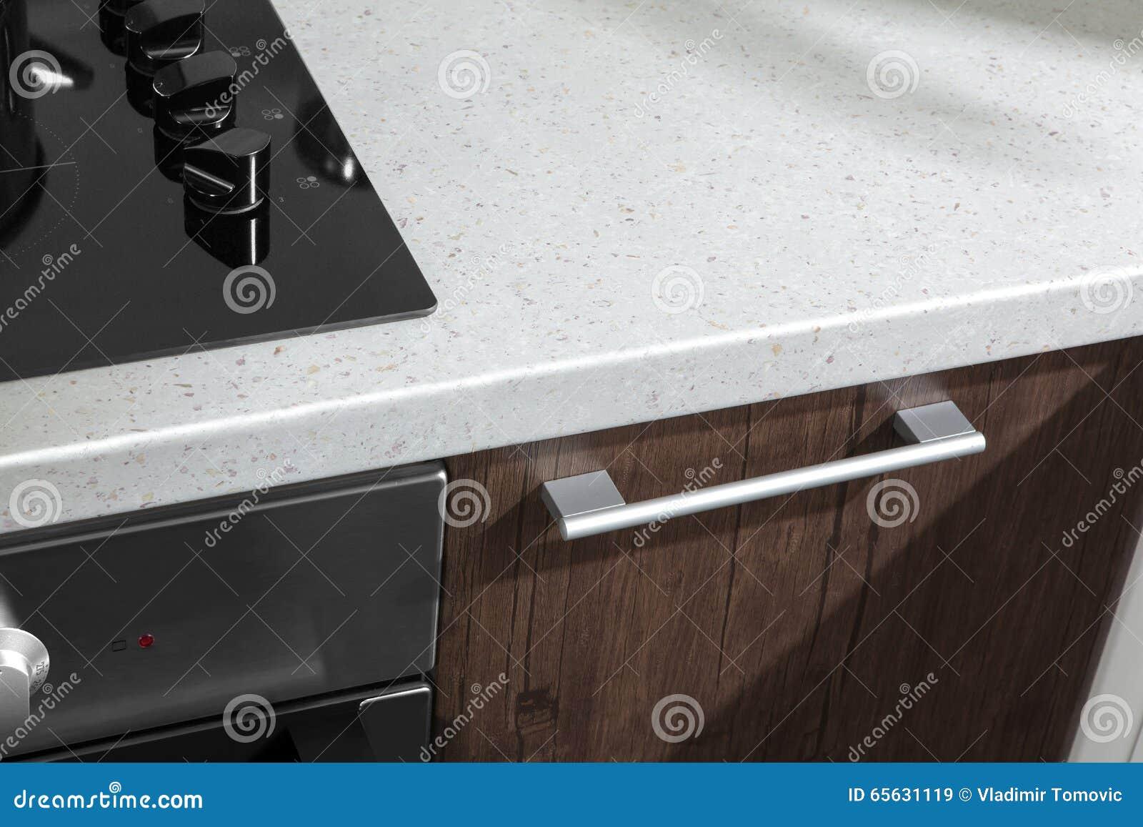 Poignée de cuisine moderne avec les détails électriques de four de fourneau