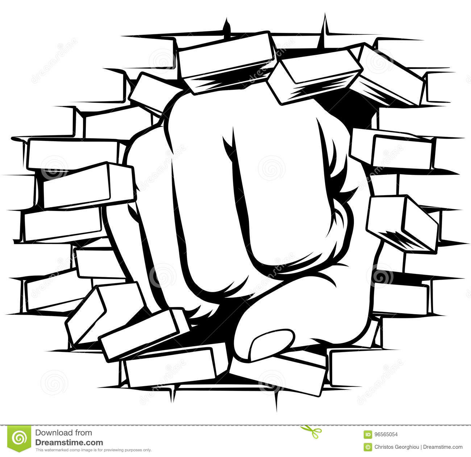 Poing poinçonnant par le mur de briques