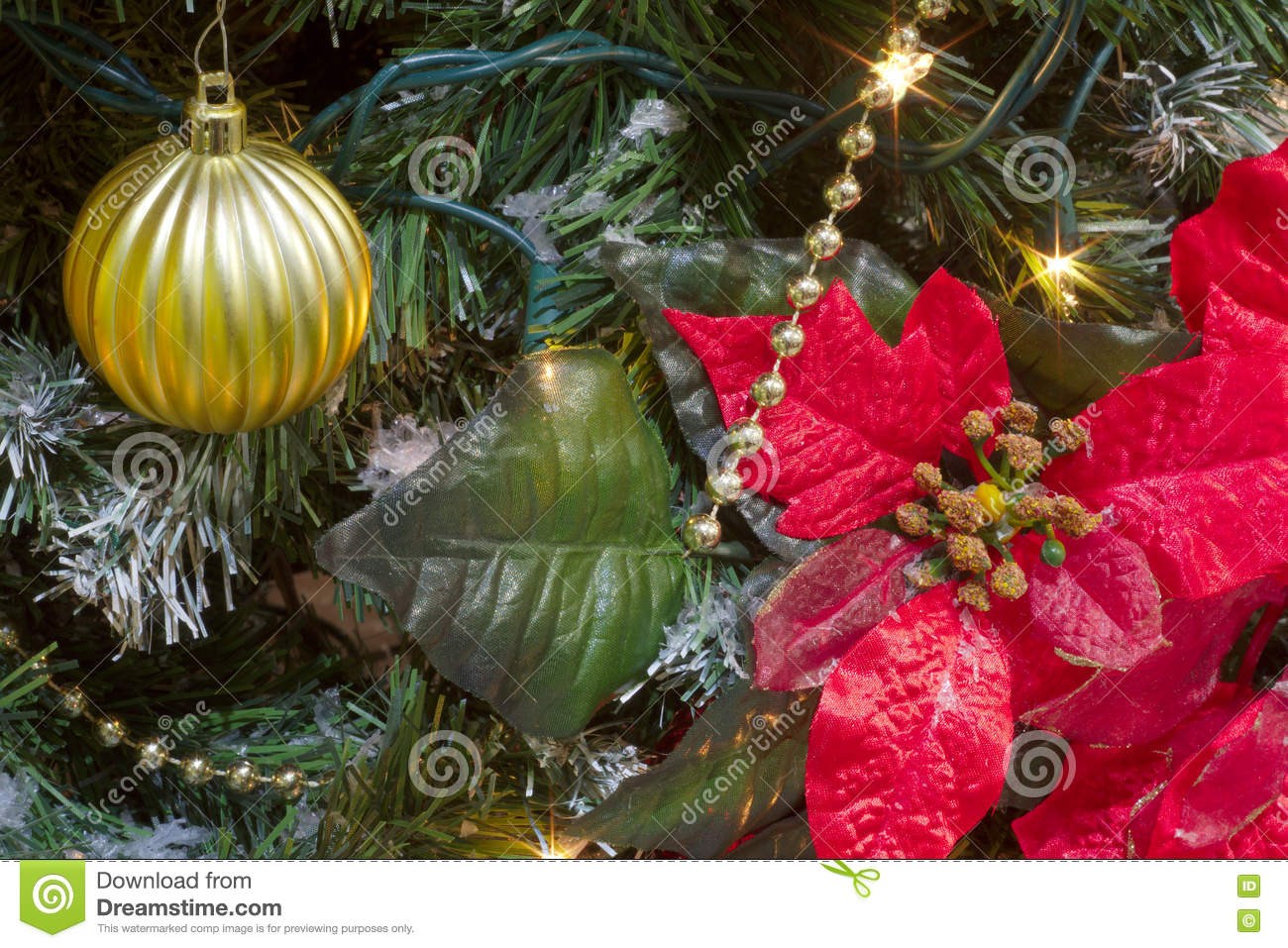 christmas poinsettia big red flower and gold bauble in a tree