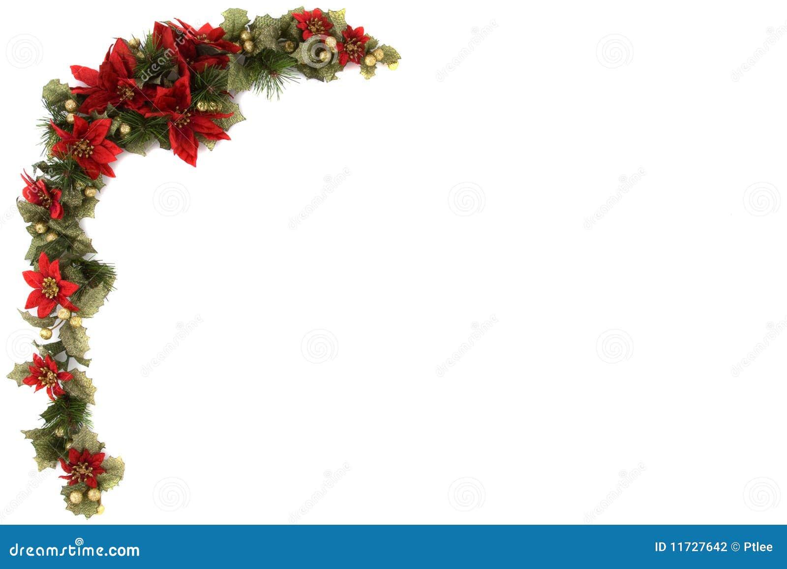 Poinsettia And Christmas Decoration Border Stock Photo ...