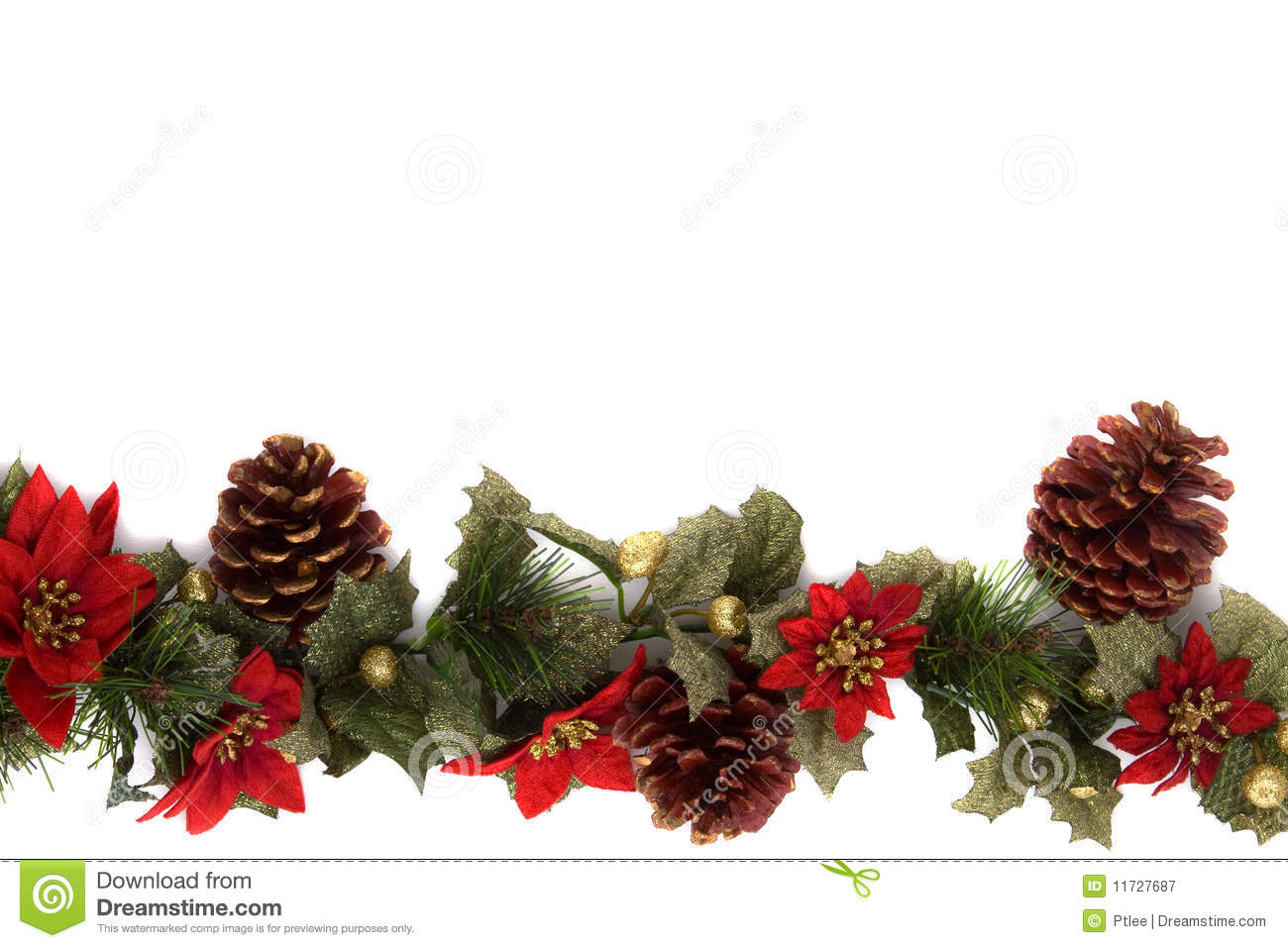 Poinsettia And Christmas Decoration Border Stock Image ...
