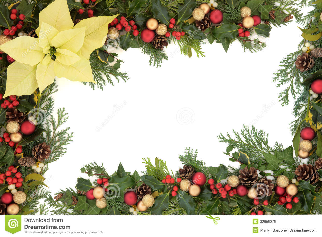 ... border with yellow poinsettia flower, baubles and winter greenery
