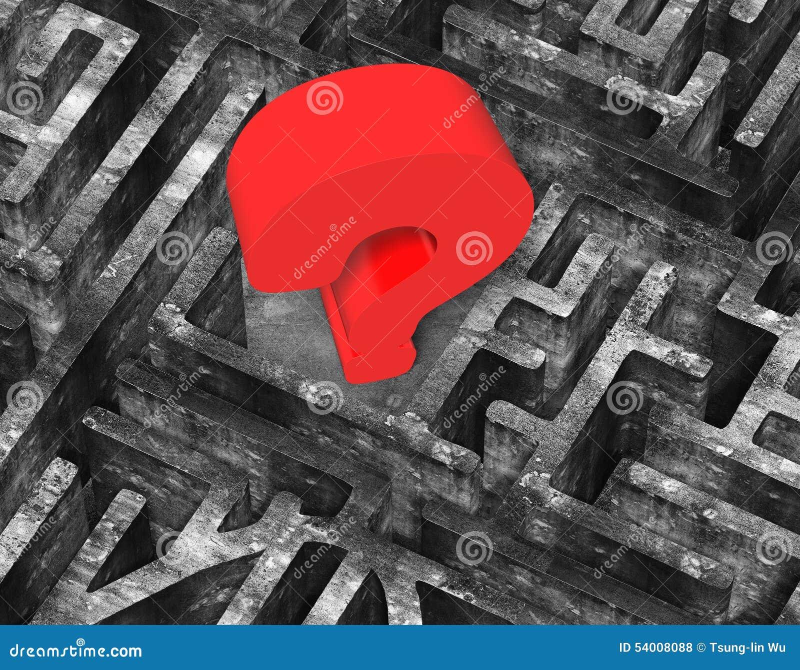 Point d interrogation 3D rouge énorme dans la vieille texture concrète de labyrinthe