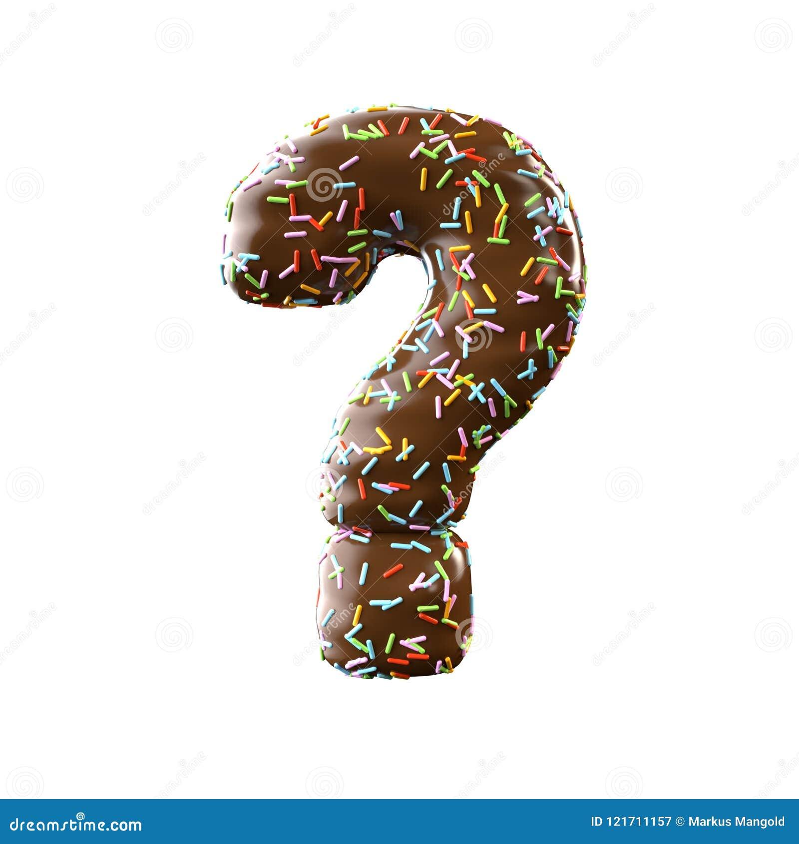 Point d interrogation de lettre de chocolat d isolement sur le fond blanc
