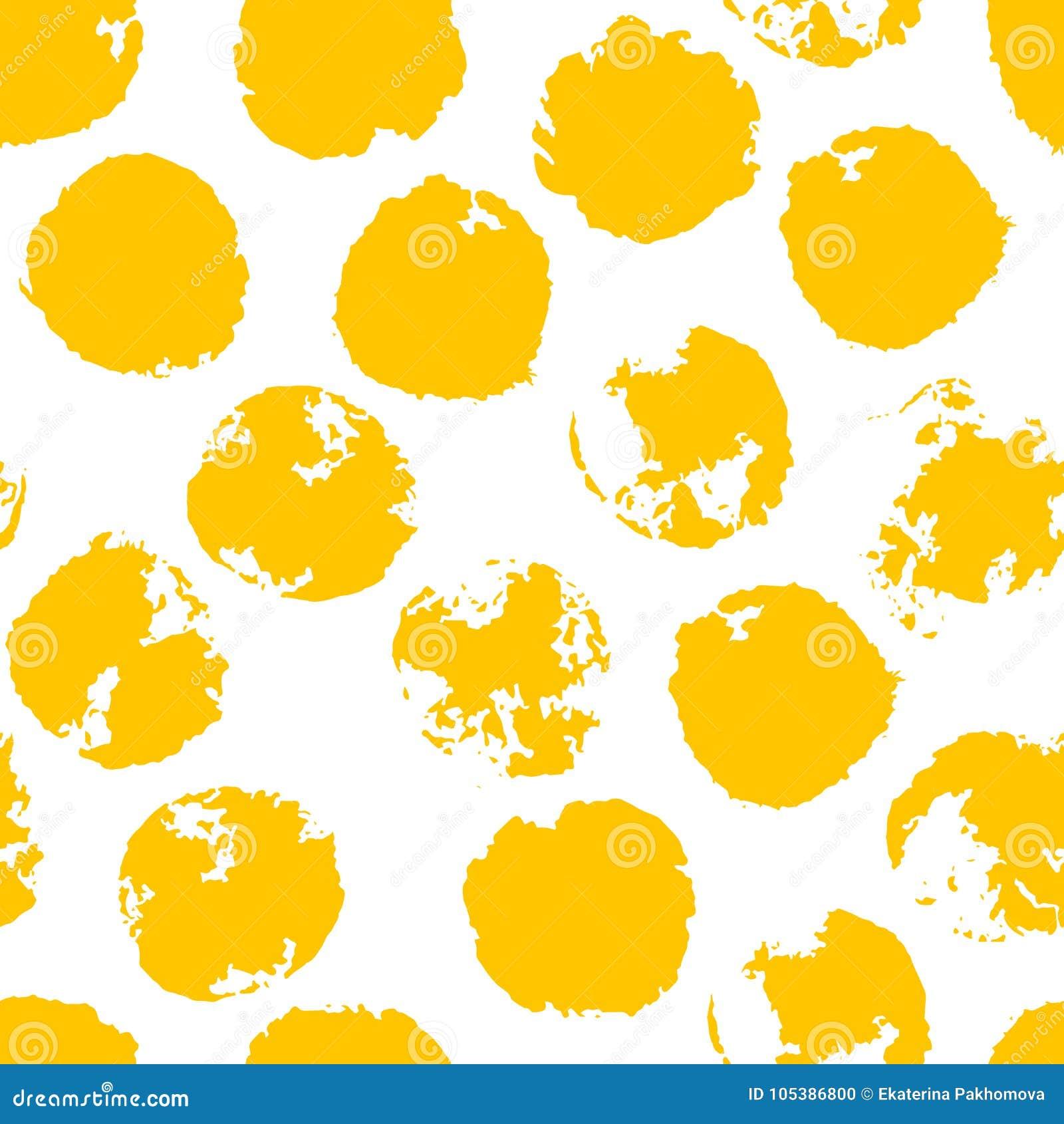 Point de polka grunge malpropre jaune Modèle sans couture pointillé sale