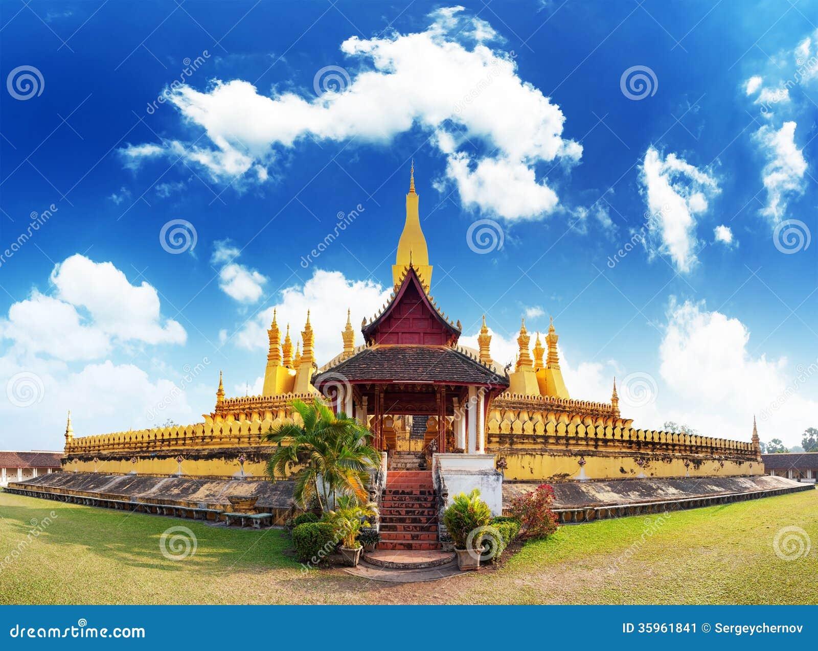 Point de repère de voyage du Laos, wat d or Phra de pagoda qui Luang
