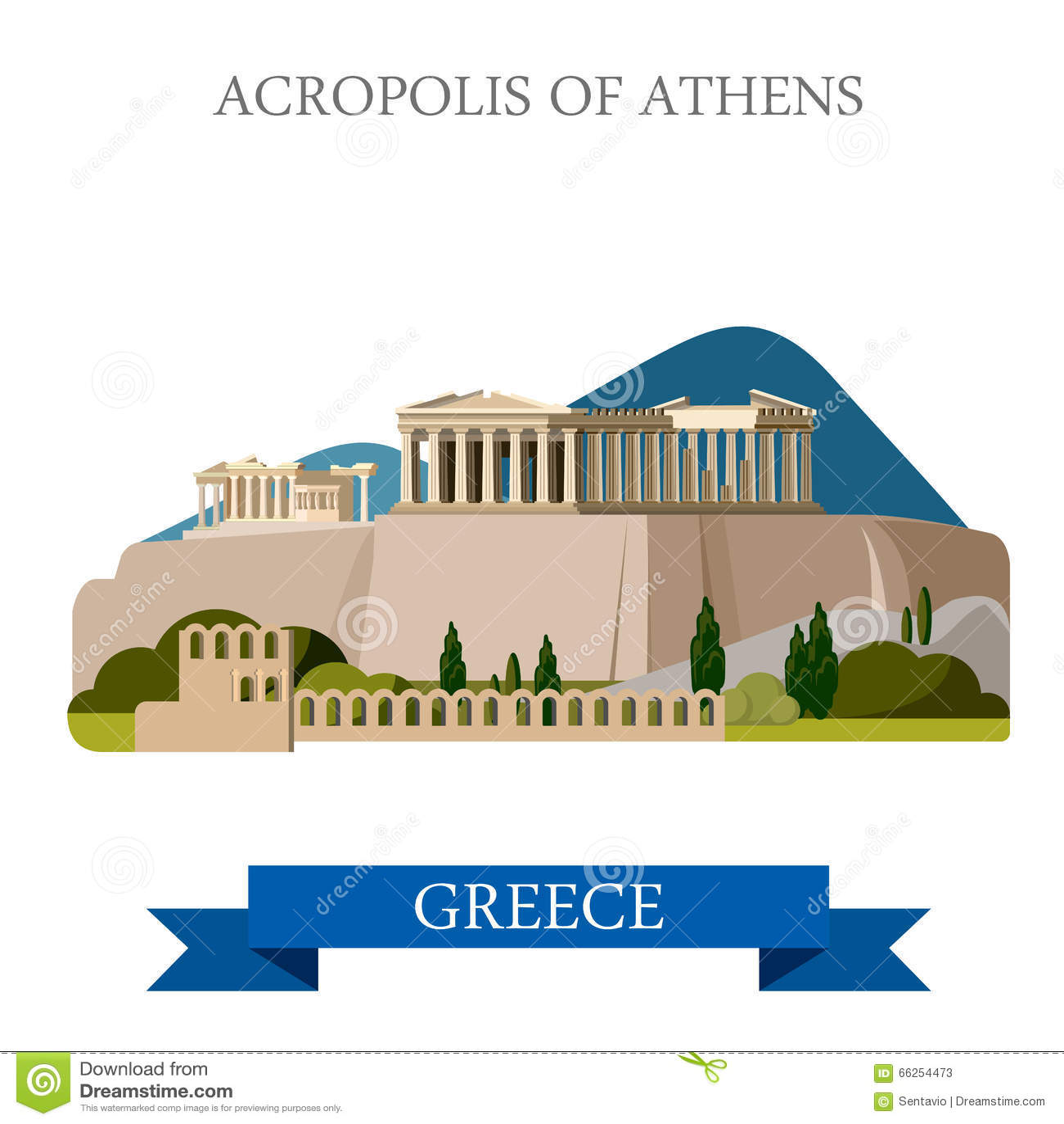 Point de repère plat de vue d attraction de vecteur d Athènes Grèce d Acropole