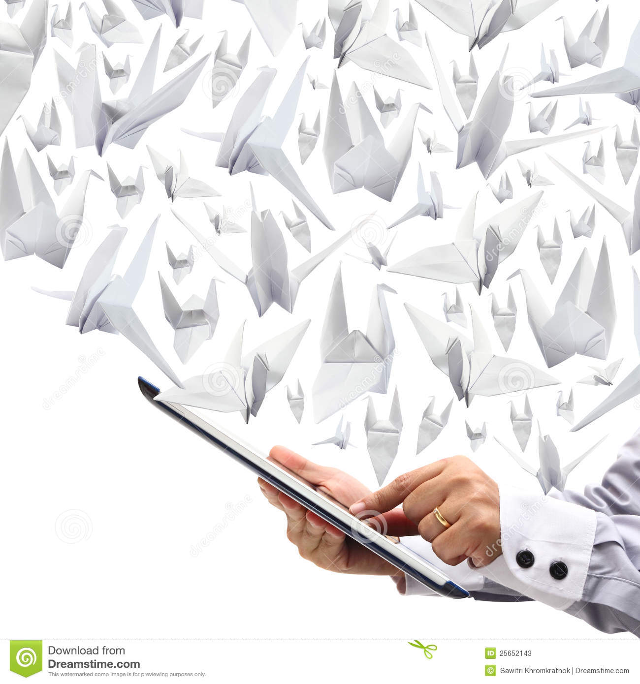 Point On Touch Screen With Origami Paper Birds Stock Illustration Fireworks Diagram Business Woman Hands Are Holding And To Fly