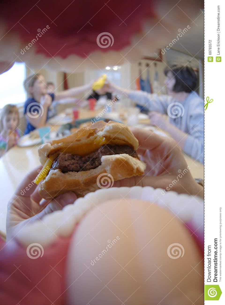Point Of View POV Mouth Eating Hamburger Meal Stock Photo ...
