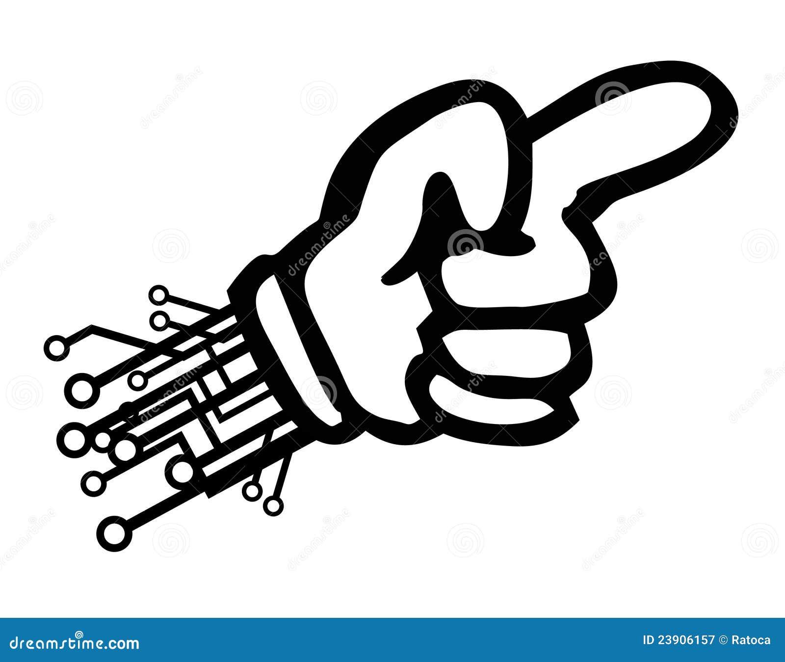 Pointage de main de technologie de dessin anim - Dessin de la main ...