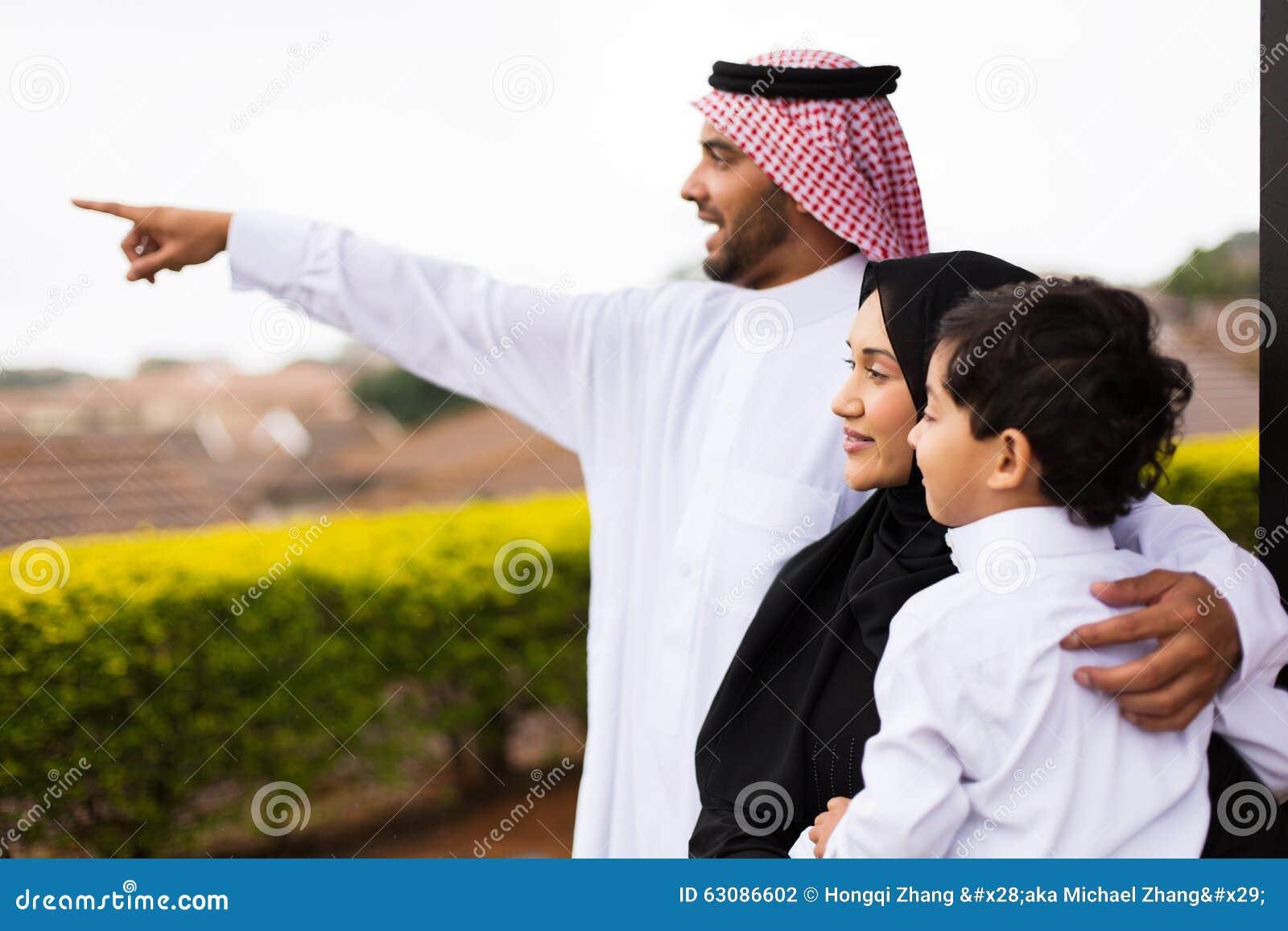 Download Pointage Extérieur De Famille Musulmane Photo stock - Image du outdoors, adulte: 63086602