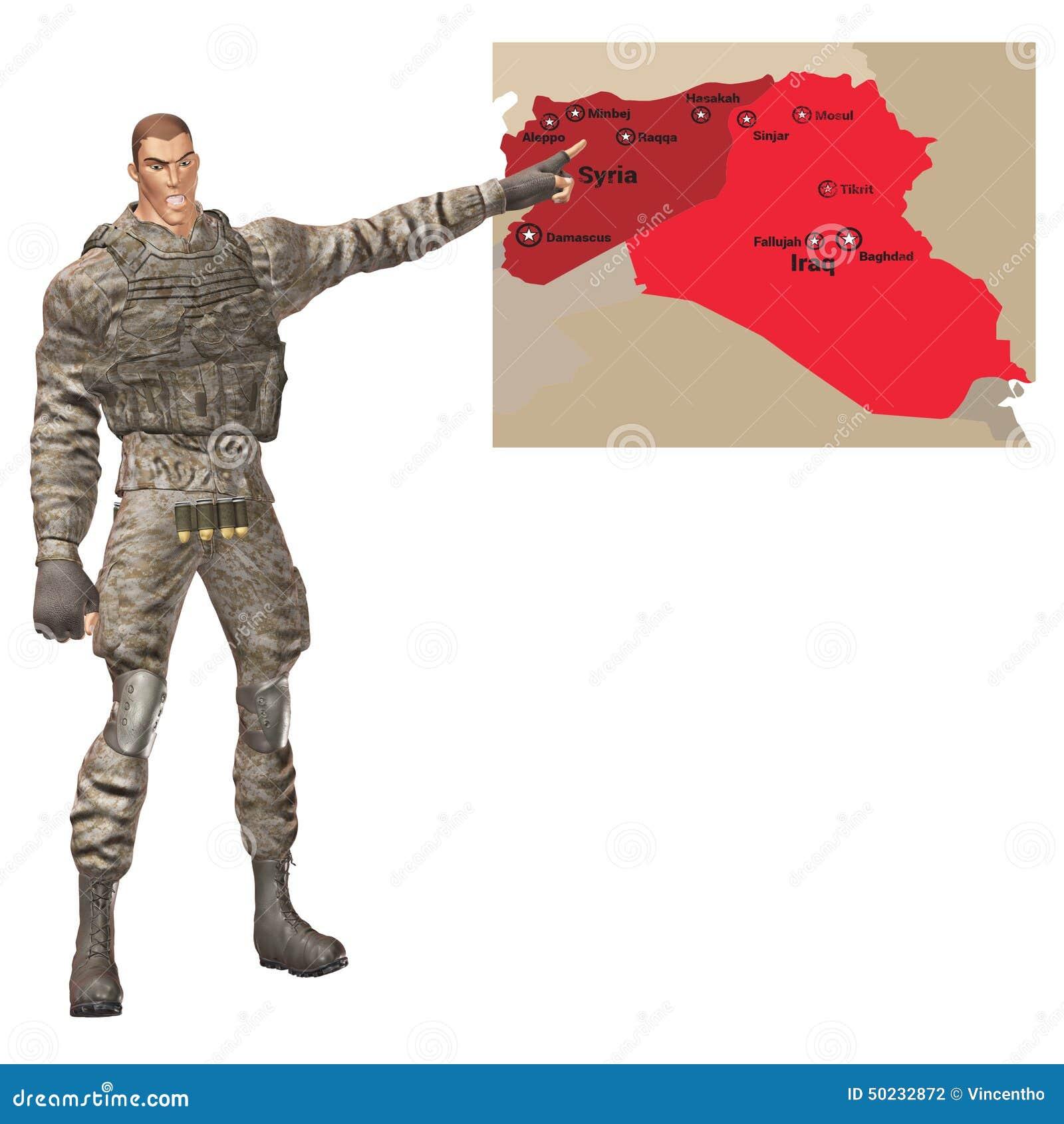Pointage général militaire à la carte de crise de Moyen-Orient