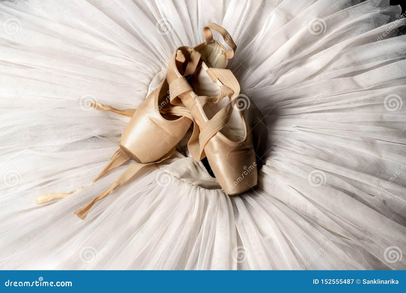 Pointe skor och balettballerinakjol Yrkesmässig ballerinadräkt