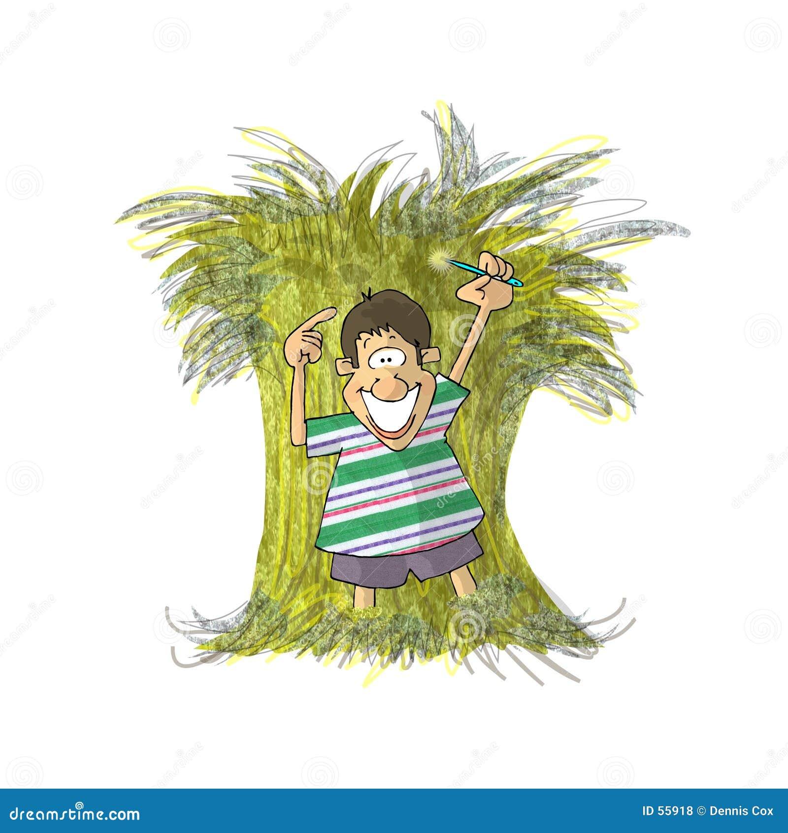 Download Pointeau Dans Une Meule De Foin Illustration Stock - Illustration du enfants, garçon: 55918