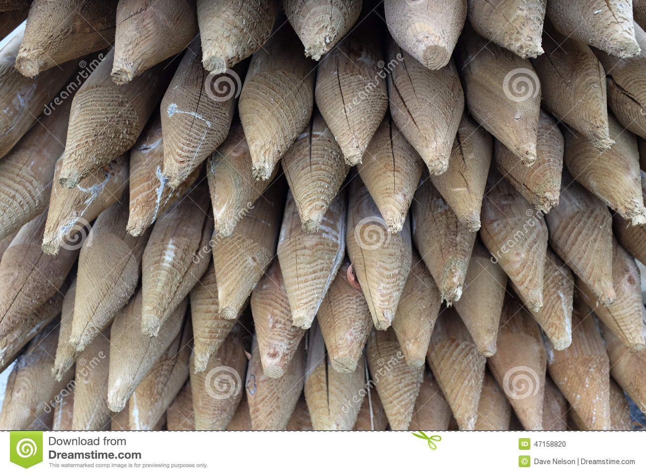 Pointed wood fence posts stock photo image 47158820 fence pointed posts stack wood baanklon Image collections