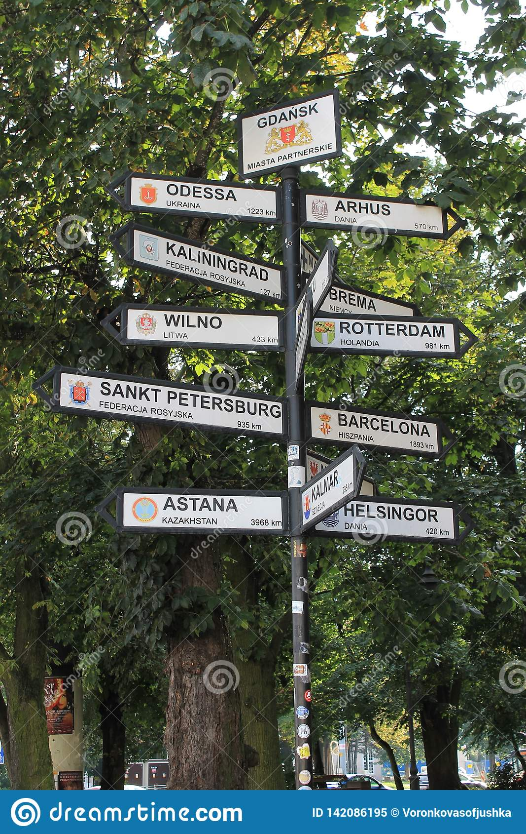 Pointers to different cities of the world in Gdansk Poland